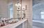 Top floor guest bath. Ship lap walls and marble walls.