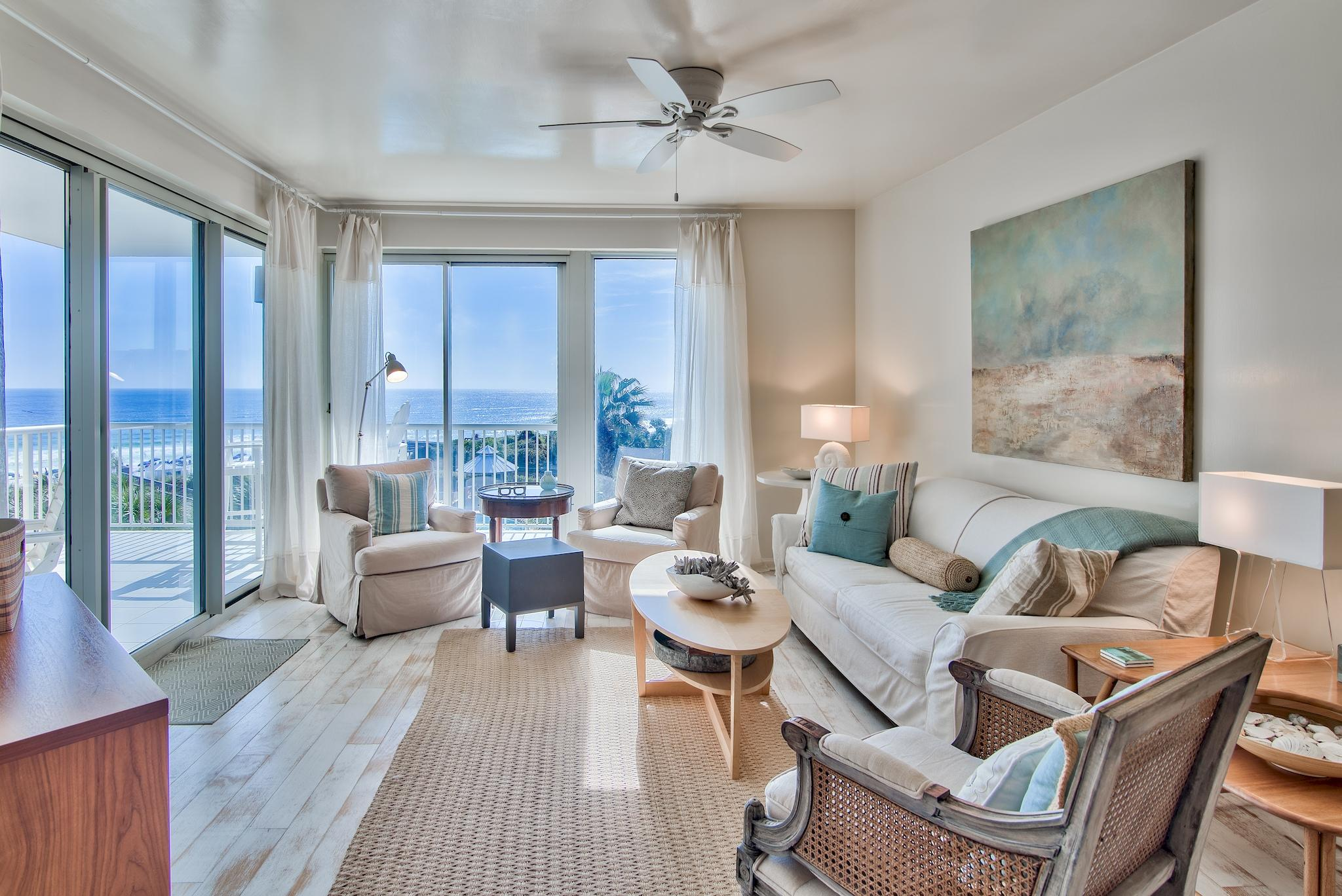 Phenomenal opportunity to own a Gulf front 2BR/2BA fully furnished unit at The Crescent! You'll enjoy prime views of the Gulf of Mexico from this 3rd floor unit. Upper floors are rarely available. Beautiful hardwood flooring extends throughout the unit with tile in the bathrooms. The open floor plan gives the unit a nice flow & there is true pride of ownership with every detail thought out including unique lighting, updated countertops and flooring and elegant coastal decor. The kitchen is generous in size & features opaque cabinets, stainless steel appliances, TV & a large breakfast bar. Capture views of the Gulf from the kitchen and dining area. The living area is very welcoming with panoramic views & a dreamy atmosphere. The large balcony is perfect for outdoor dining & entertaining! The Gulf front master bedroom is elegantly decorated and features a tray ceiling, direct access to the balcony, a large walk-in closet, and an en-suite bathroom. The master bath features a double vanity, soaking tub, and a separate walk-in shower. The guest bedroom offers two twin beds, an en suite bathroom, and is located at the front of the unit allowing the master bedroom extra privacy at the back of the unit. Unit 309 has a full-size stackable washer & dryer for convenience. Cabinets were recently repainted and the unit has been impeccably maintained. There is good storage in the unit and an additional storage cage great for your beach gear.   The Crescent is an exclusive Gulf front condominium located on the famed beaches of Miramar Beach and is close to dining, shopping & other attractions. Come discover for yourself the many hidden treasures of The Crescent including a 4,500 sq. ft. lagoon pool that is heated seasonally, a second smaller pool, hot tub, fitness center, conference facility, gated access & parking, and the convenience of an on-site reservation desk for your guests. There is a private gated boardwalk and designated beach with seasonal beach service. Start living the coastal lifestyle and relax on the beach, go paddle boarding, or take a walk or bike ride on the pedestrian path that runs all the way down Scenic 98. Enjoy fresh fish tacos and a cold beverage next door at Surf Hut, a favorite restaurant in the area. There is also a CVS and grocery store down the street and Silver Sands Premium Outlets. You have everything you need within reach. Don't miss out on this incredible opportunity to own a top tier unit at The Crescent, as 3rd & 4th floor units rarely come on the market!