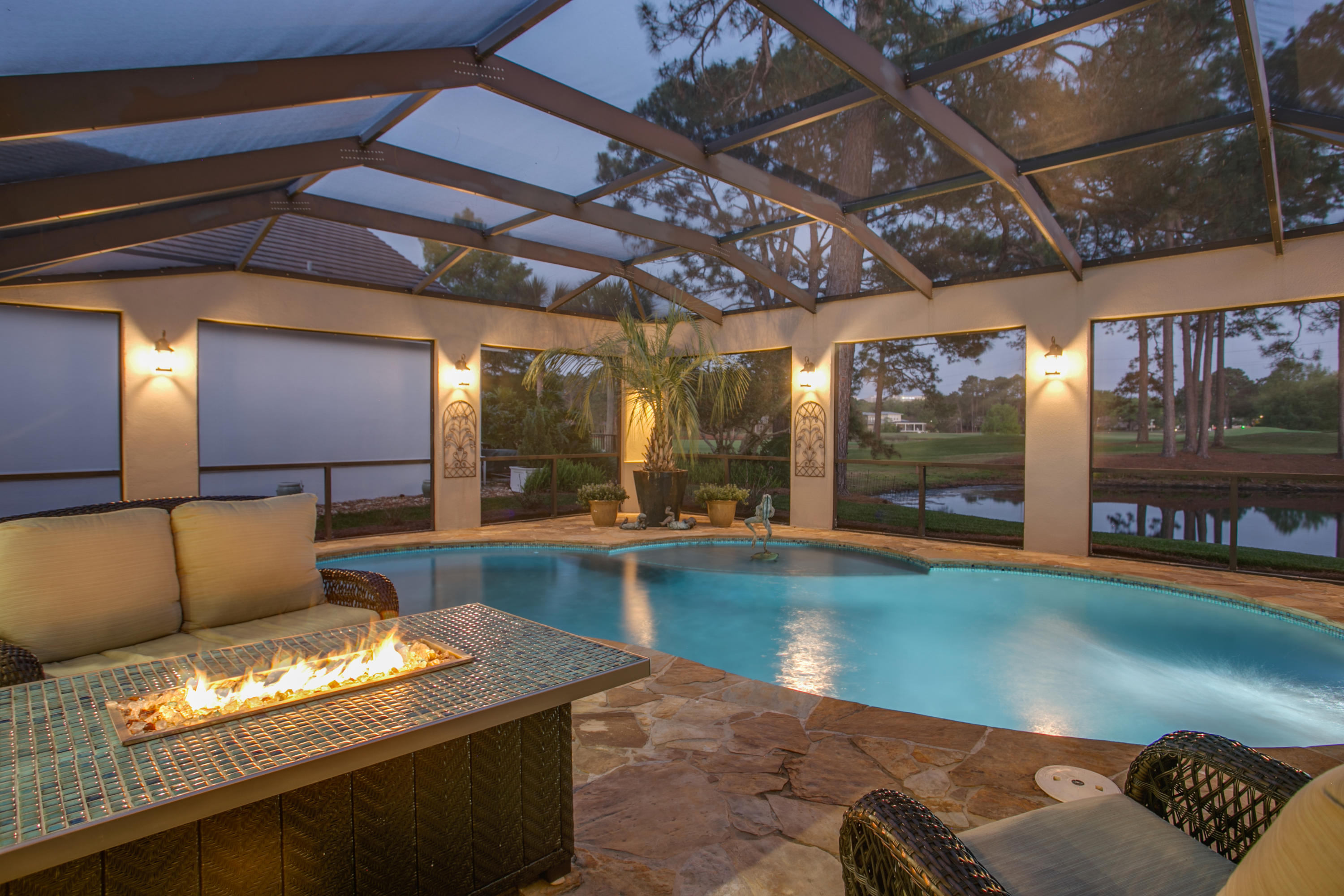 From the moment you walk in, you will be drawn to the views of the pool, lanai, lake and Baytowne Go
