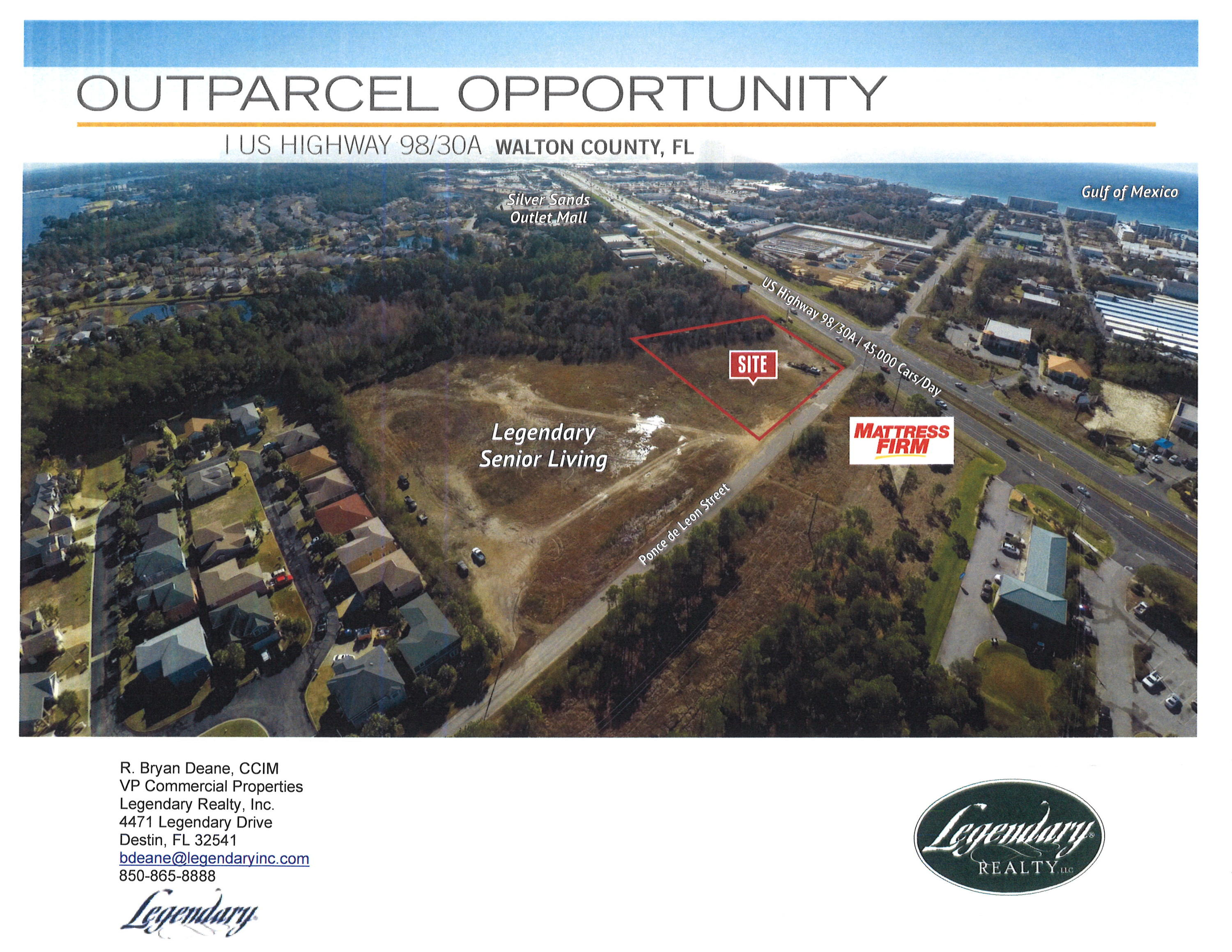 Land is zoned Coastal Center Mixed Use with 273 feet on Hwy 98 W.  Corner site nearly adjacent to Si