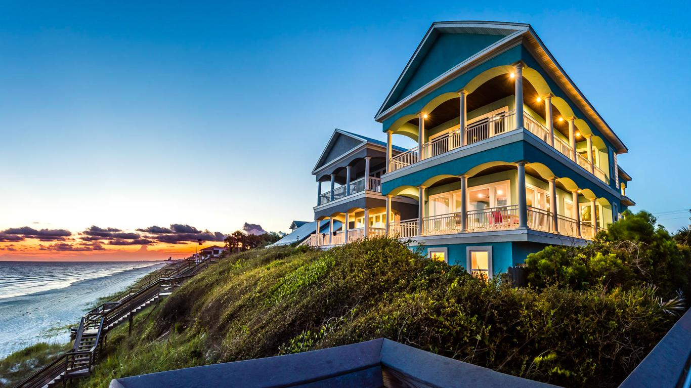 This beautiful Gulf front home is located on the East end of 30A near Rosemary and ALYS Beach. Aptly