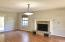Huge living room with gas fireplace