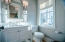 POWDER ROOM WITH GRASS CLOTH WALLCOVERINGS