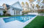 POOL FEATURES SUN SHELF, MOZIAC TILE, OVERFLOW FOUNTAINS, WATERFALL AND HOTTUB/SPA