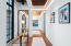 Front Hallway featuring Reclaimed Wood Floors with Marble Inlay