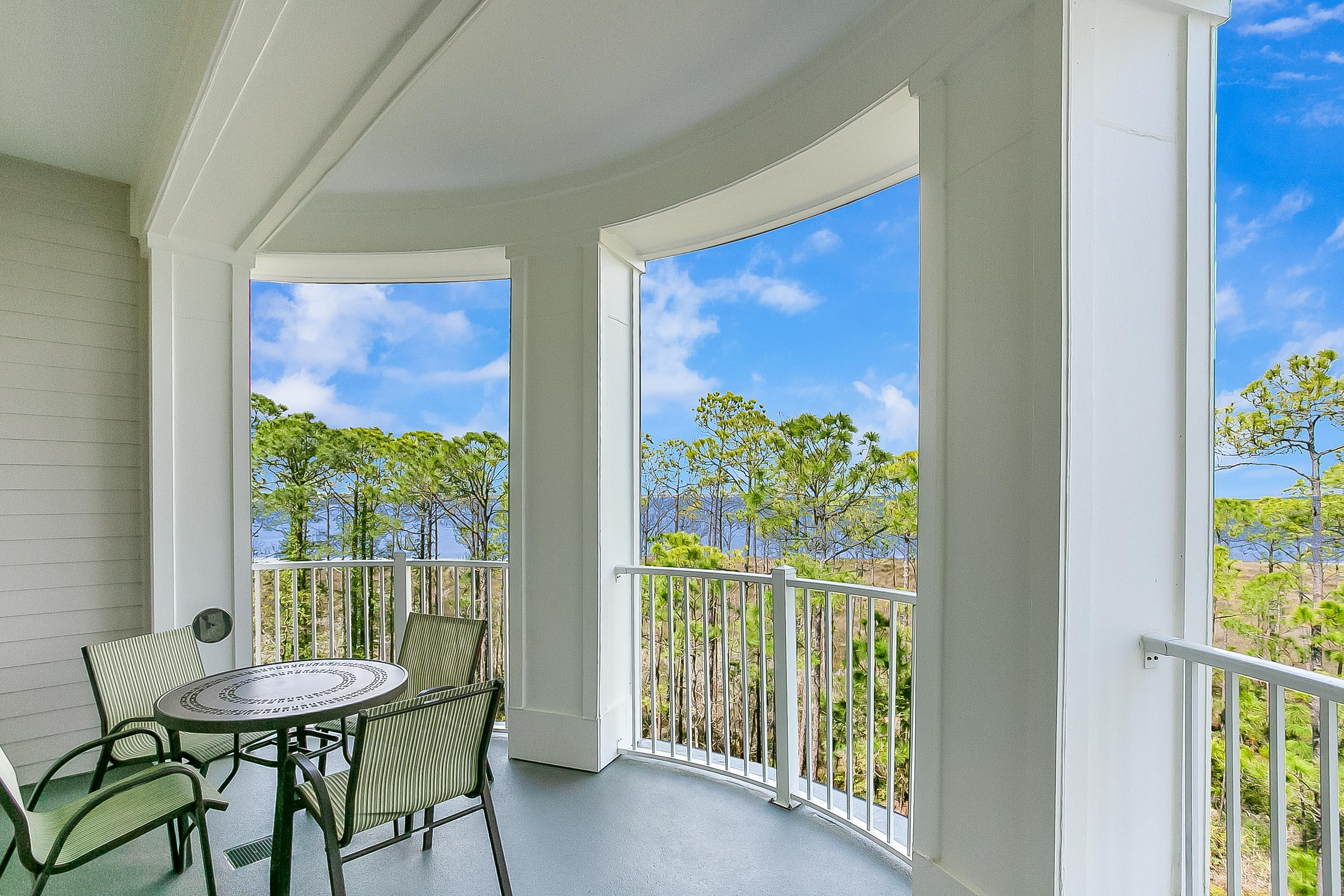 Enjoy tranquil views of the Choctawhatchee Bay from the large circular balcony. This lock-off floor plan allows you to utilize it as a 2 bedroom, or 1 bedroom and a studio in order to increase your rental opportunities. The one bedroom portion has a full kitchen with granite counter top and subway tile backsplash, a master bedroom with king sized bed and en suite bath, new sleeper sofa in the living area,  and an additional full bath to accommodate extra guests. The studio lock-off has a queen sized bed, full bath and kitchenette. Owners have access to the resort style pool and fitness center at the Grand Sandestin, and exclusive access to the private Solstice Club sitting on the bay featuring outdoor barbecue area, kitchen and screened porch with fireplace. As an introduction to the Sandestin lifestyle, we invite our new owners to explore amenities that make Sandestin special. The listing brokerage and seller(s) are presenting the buyer(s) of this property with (2) 90-minute rounds of Tennis court time, a golf foursome at one of our three championship courses, and a round of golf for up to four (4) players at the unrivaled Burnt Pine Golf Club.  Sandestin Golf and Beach Resort is a major destination for all seasons and all ages, and has been named the #1 resort on Florida's Emerald Coast. This magical resort spanning over 2,000 acres is comprised of over 70 unique neighborhoods of condominiums, villas, town homes, and estates. The resort features miles of sandy white beaches and pristine bay front, four championship golf courses, a world-class tennis center with 15 courts, 4 resort swimming pools (and 15 private neighborhood pools), a 123-slip marina, a fully equipped and professionally staffed fitness center and spa, meeting spaces and The Village of Baytowne Wharf, a charming pedestrian village with events, shopping, dining, family entertainment and nightlife. For true golf cart community living, Grand Boulevard is just outside the resort gates and provides acces