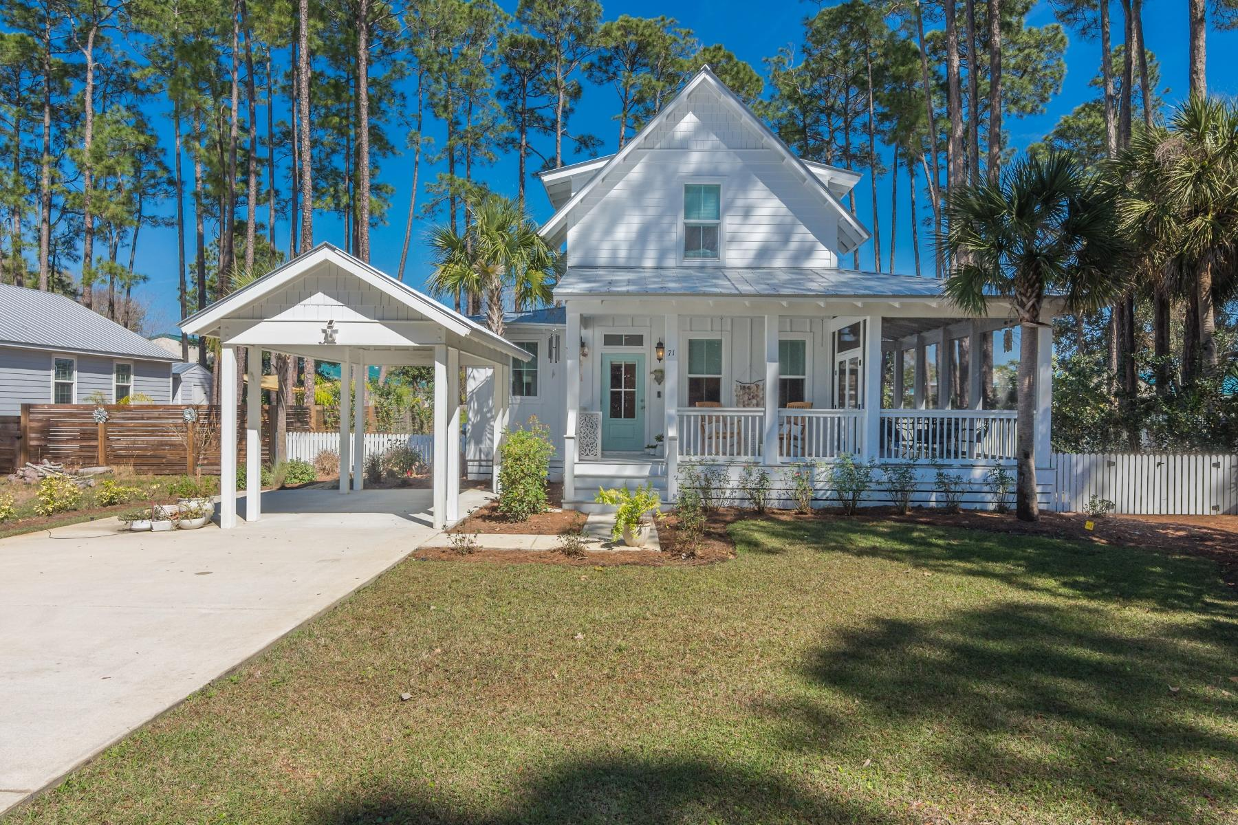 This Coastal Cottage is designed with beach living in mind.  Built in 2019, this Southern Living Home Design is located within 1/2 mile of the beach access on 30A.  The home features an open concept living area, dining room & kitchen with stainless steel appliances and quartz countertops. The cozy fireplace completes the living area.  The Master Bedroom Suite w/spacious bathroom is conveniently located on the first floor along with a guest powder room and a laundry room.  The large, fully fenced back yard has enough space to add a private pool.  An oversized side screened porch completes the beach living experience. On the Second Level you will find two additional bedrooms and a Full bath.  Sold Furnished with three excluded items.  All information & dimensions should be verified by Buyer