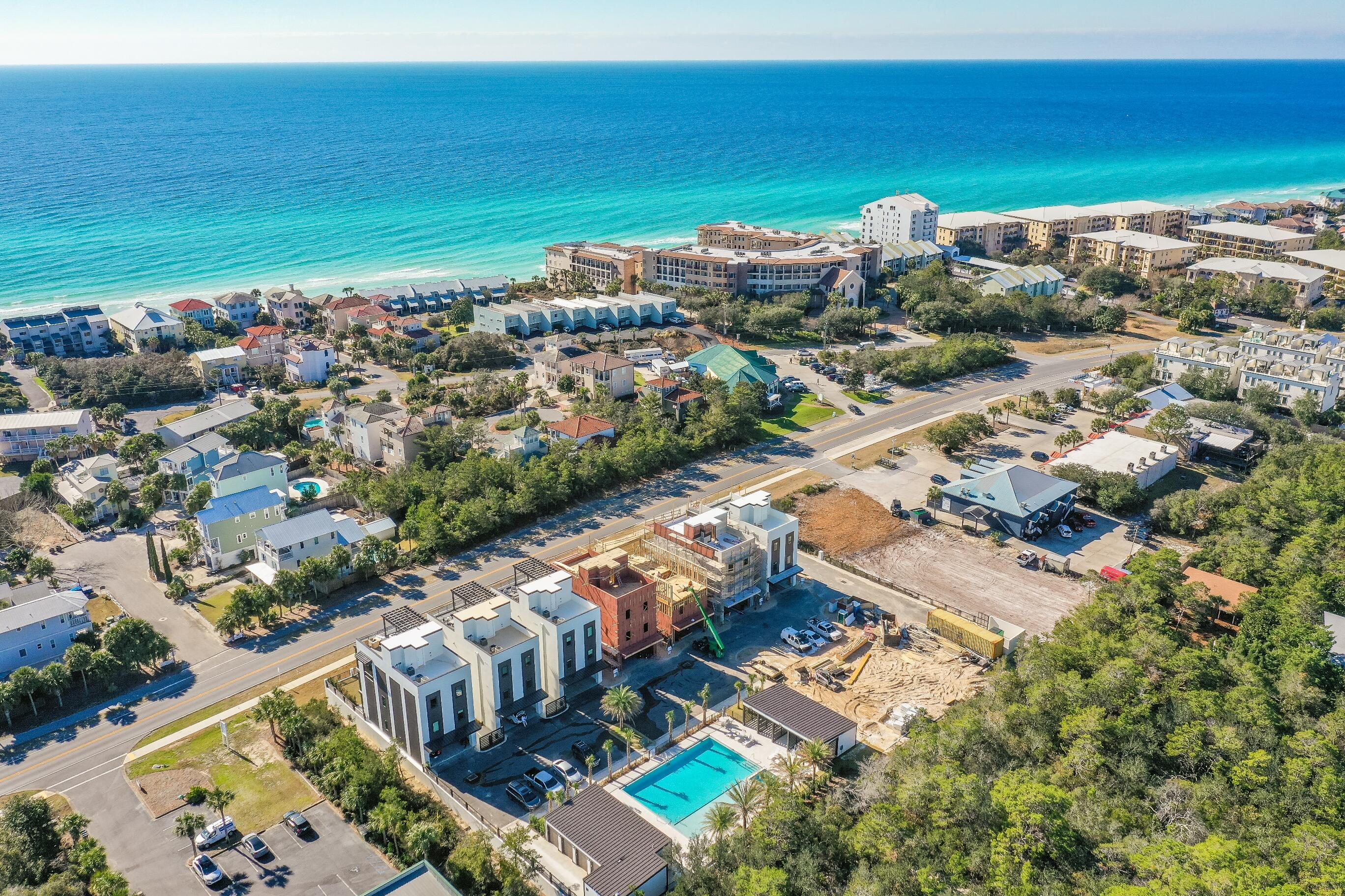 ONE OF THE LAST TWO UNITS AT THE CREST - Completion September 2021. This unique unit boasts TWO rooftop terraces providing East & West Views of the Gulf from Destin to Panama City.  The Crest offers stunning, contemporary architecture and is conveniently located in Blue Mountain Beach on one of the highest points on Hwy 30A, the view from the rooftop terrace is simply stunning! This 3500 sq ft home boasts 5 bedrooms, 5.5 baths and two spacious living areas. The Crest affords its owner quality (partial steel) construction along with extra space to enjoy those family days at the beach without the paying the price of gulf-front! A few of the many amenities include a community pool, poolside cabanas, separate storage for each unit, a golf cart for each owner...all in a gated community.