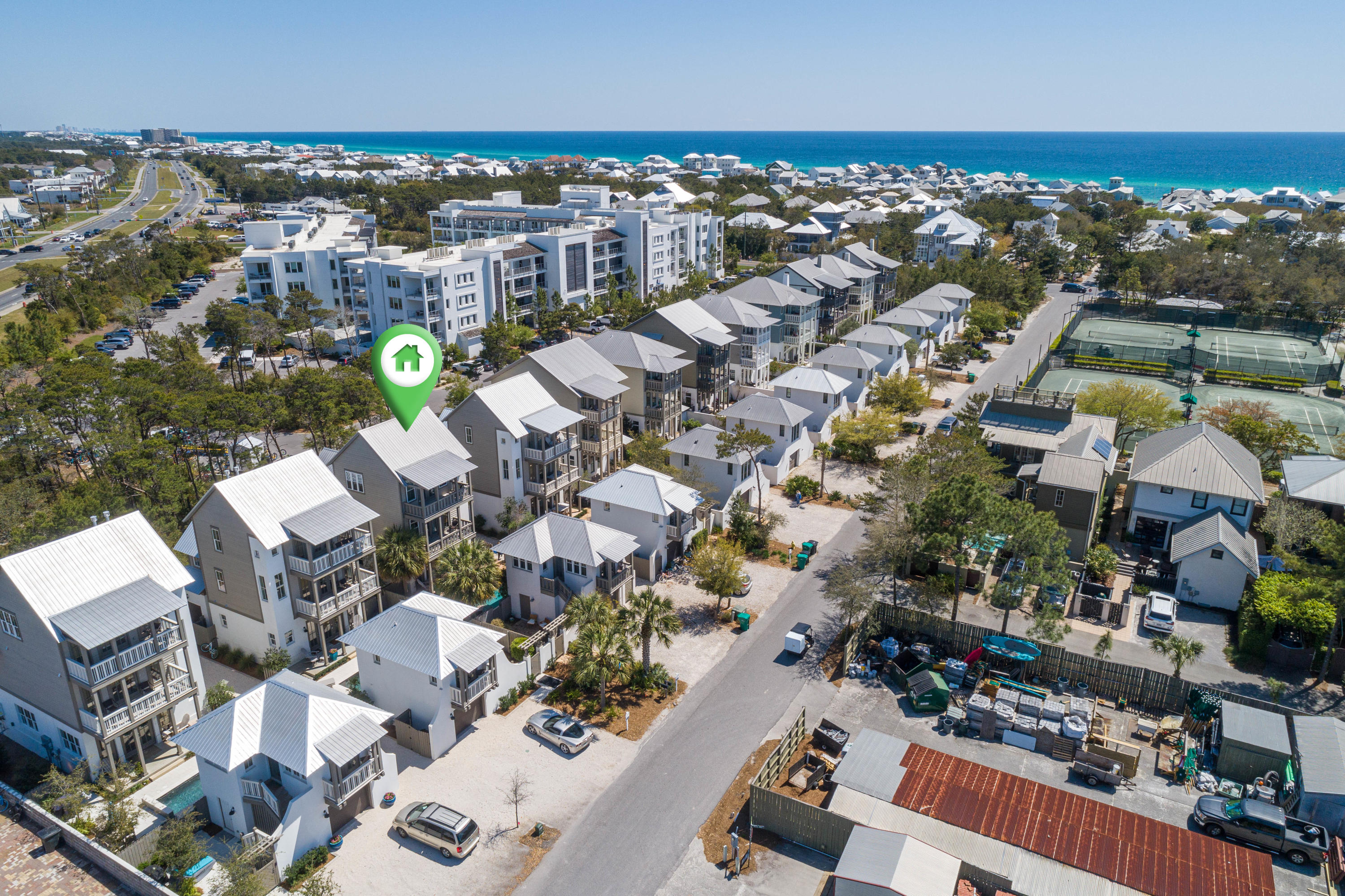 *Virtual tour available*Whether it's your second home, primary home, or an investment, you'll be amazed by Villa St. Barth's on Winston Lane, just off of 30a and Hwy 98, directly next door to Rosemary Beach. The highly sought after location of this home means not only are you a short walk or bike ride to the beach and endless shopping and dining options, but you and your guests will also never have to drive through the traffic of 30A in peak seasons! Park your car and you can walk or bike to the upscale boutiques in Rosemary Beach, or the amazing restaurants of the shops at 30Avenue. This five-bedroom, 4.5-bathroom home sleeps up to 14 people, when the carriage house is included.  A private dipping pool and courtyard with grill and outdoor fireplace separate the main home and carriage house, which can be rented together or separately, maximizing your earnings potential.   An open-concept layout and coast contemporary decor make everyone feel like vacation has officially begun when you step inside. The first floor features a pull-out sofa, facing the fireplace, a modern kitchen with large farmhouse style table and bar seating so everyone can enjoy a meal together. Access to the pool and outdoor entertaining is just through the french doors off of the living area.   Upstairs, you'll find a balcony that overlooks Winston Lane and includes an additional seating area. There are also 2 guest rooms down the hall (both queen suites) and a bunk room. Bright pops of color and artwork are seen throughout the bedrooms, which have their own bathrooms. The bunk room features two twin-over-twin bunk beds. The third floor contains a primary suite featuring a king bed and en-suite bathroom. The private balcony in the bedroom is the perfect place to sip coffee in the morning. All bedrooms have their own flat screen TVs.  The carriage house has its own queen bed, sleeper sofa, private bathroom and kitchenette. This is all on top of the two-car garage.   Sold completely furnished and w