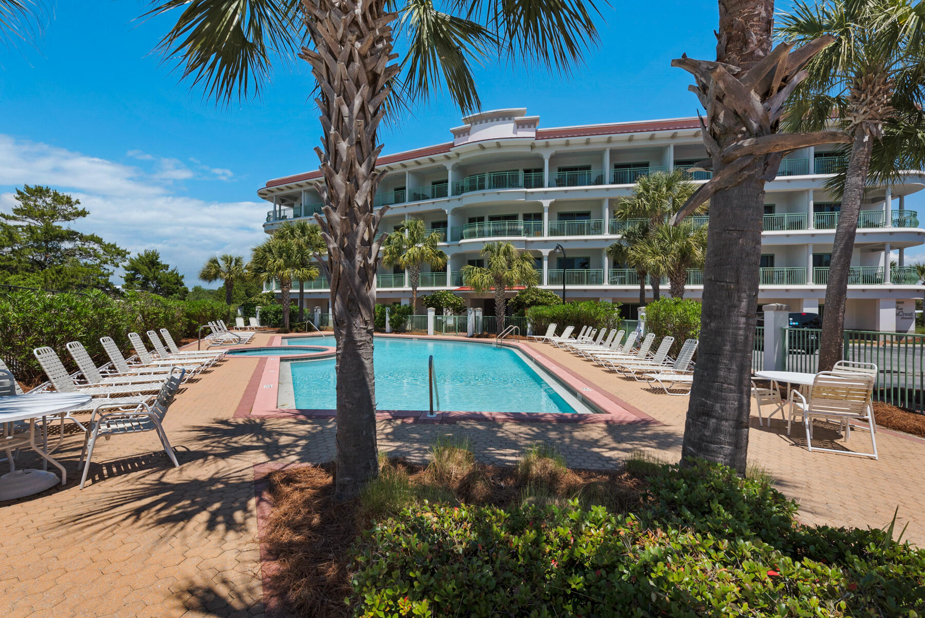 One of the best priced condos for sale along the entire stretch of 30A.Inn at Seacrest is ideally located between Alys and Rosemary Beach. Walking distance to  restaurants and shopping. Just steps away from the  beach with deeded beach access, with a seasonal tram for pick up and drop off at the beach.This ground floor walk out, studio unit w/full bath and efficiency kitchen with  Granite Countertops,White Cabinety , Stainless Steel Refigerator and Tile Flooring. Enjoy the community pool, hot tub and conveniently located  laundry.