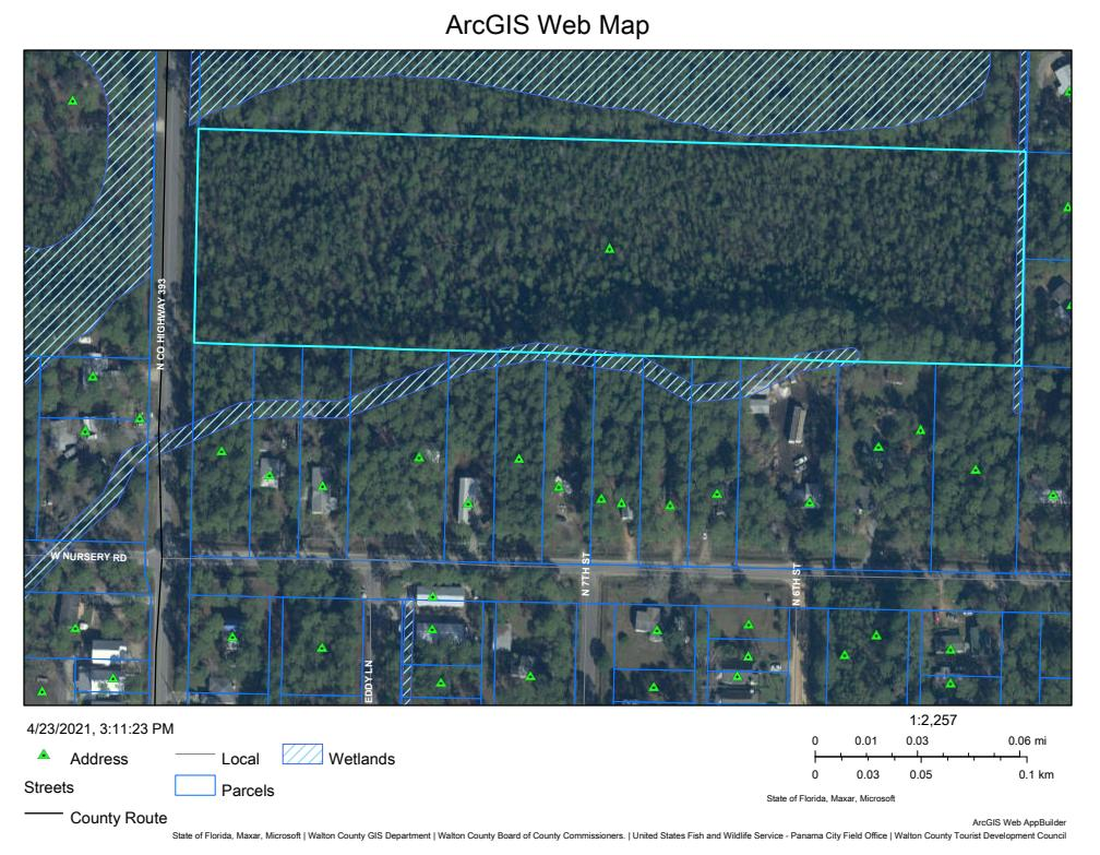 Beautiful flat, generally all low growing trees on this 9.75 ac tract. Perfect for potential development, and a rare find! Almost an 10 acres that shows ample uplands with approx. 330' of frontage on County Road 393 N that leads to the bay or the gulf, and W. & E. Nursery Road, which conveniently can lead you out to US Highway 331, a main thoroughfare to and from the gulf coast, and our beaches. AE Flood Zone and Zoning/Future Land Use is Conservation Residential (1 dwelling to 2.5 acres, as is allows for 3 dwellings but potential for Low Density up to 39 dwellings with Zoning & Land Use change). E Nursery Rd also has Walton Countys secret treasure, Kellogg Park, a bay front county park with paddle boat and kayak launch, along with showers and picnic tables. The bay and boat ramp is directly at the end of Co Rd 393 N, and nearby Kellogg Park has a kayak or paddle board access point.  There's dining nearby, fishing piers at 331 and waterfront Cessna Park has another boat ramp with tennis wall, playground and basketball hoops on the way to the land tract including Arts Center.   LOTS HAPPENING NEARBY AS WELL!! You don't want to miss this buy!  Note: Water & sewer stops at E. Nursery Rd at this time. Natural Gas doesn't go up that far. Chelco for power and CenturyLink for Cable & Internet. Buyer to verify.