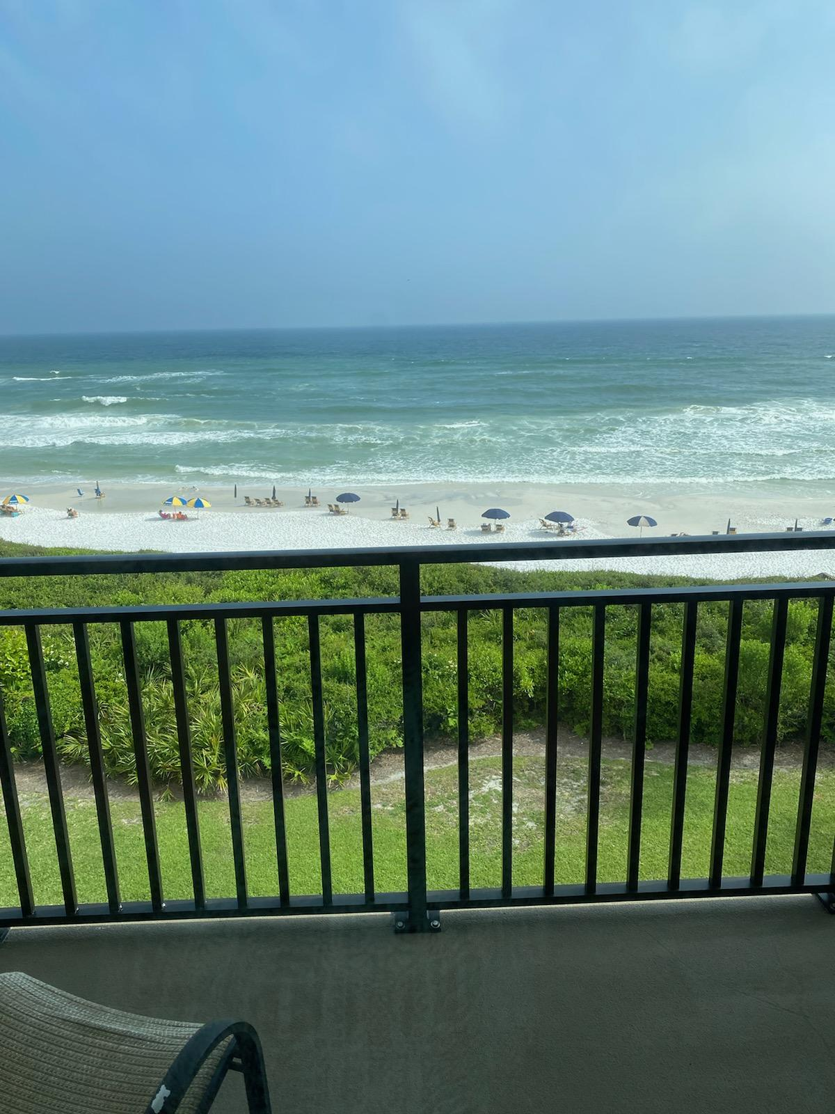 Photos Coming Soon. Palms at Seagrove Gulf front unit - Located on the top level, this unit's direct view of the Gulf is spectacular. This Gulf front unit sleeps six with a queen bedroom, sleeper sofa and built in hall bunks. Two full baths. The complex is newly painted.  Unit has new sliding glass door and balcony railing. Room measurements and square footage is approximate and should be verified by buyer
