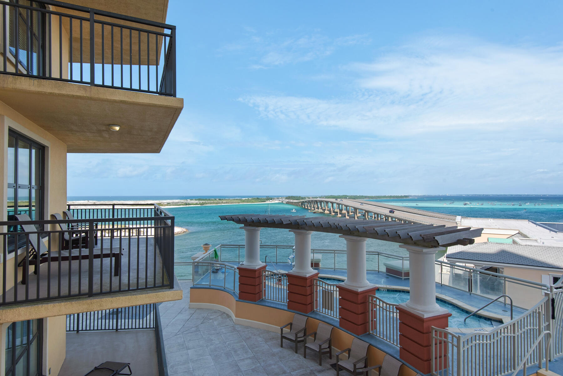 Spectacular water views from this luxury condo seven stories up for the perfect setting on Destin Harbor.  Panoramic views of East Pass, Gulf of Mexico, Choctawhatchee Bay, Destin Bridge and Crab Island. This elegant four bedroom corner unit lives like a home with polished style. With eyes toward the water, it is a haven of sumptuousness. Crown molding, recessed lighting, 9' ceilings.  The big wrap balcony offers privacy from south units. The Sundeck pool is one level down.   Located on same floor as European spa, treat yourself.  Steps away from your unit are Destin Harbor, marina, charter fishing, waterfront dining at numerous restaurants, shopping at HarborWalk Village, famous McQuires, beach shuttle, more. Rental income on books and projected to be $90,000- $100,000.