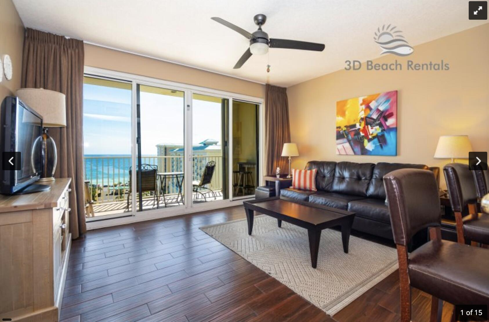 This eleventh floor condo (1106), in Ariel Dunes I, features one of the best views in the building. A very short walk to a private beach and you will be relaxing in the sand. This condo sleeps 6 with a master bedroom, two built in bunk beds in the hallway, and a pull-out sofa in the living room. There are LCD TVs in the master bedroom and living room. Condo comes with in unit washer/dryer, wifi, cable TV, and fitness room access. Ariel Dunes provides all Seascape resorts amenities including: 18 hole golf course, 3 full size pools, basketball courts, tennis courts, pickleball courts, and full service Cabana Cafe restaurant with live entertainment.