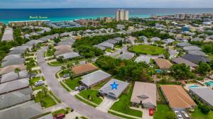 Aerial of Beach Access & 276 Sandy Cay Drive with Blue Star on Roof.