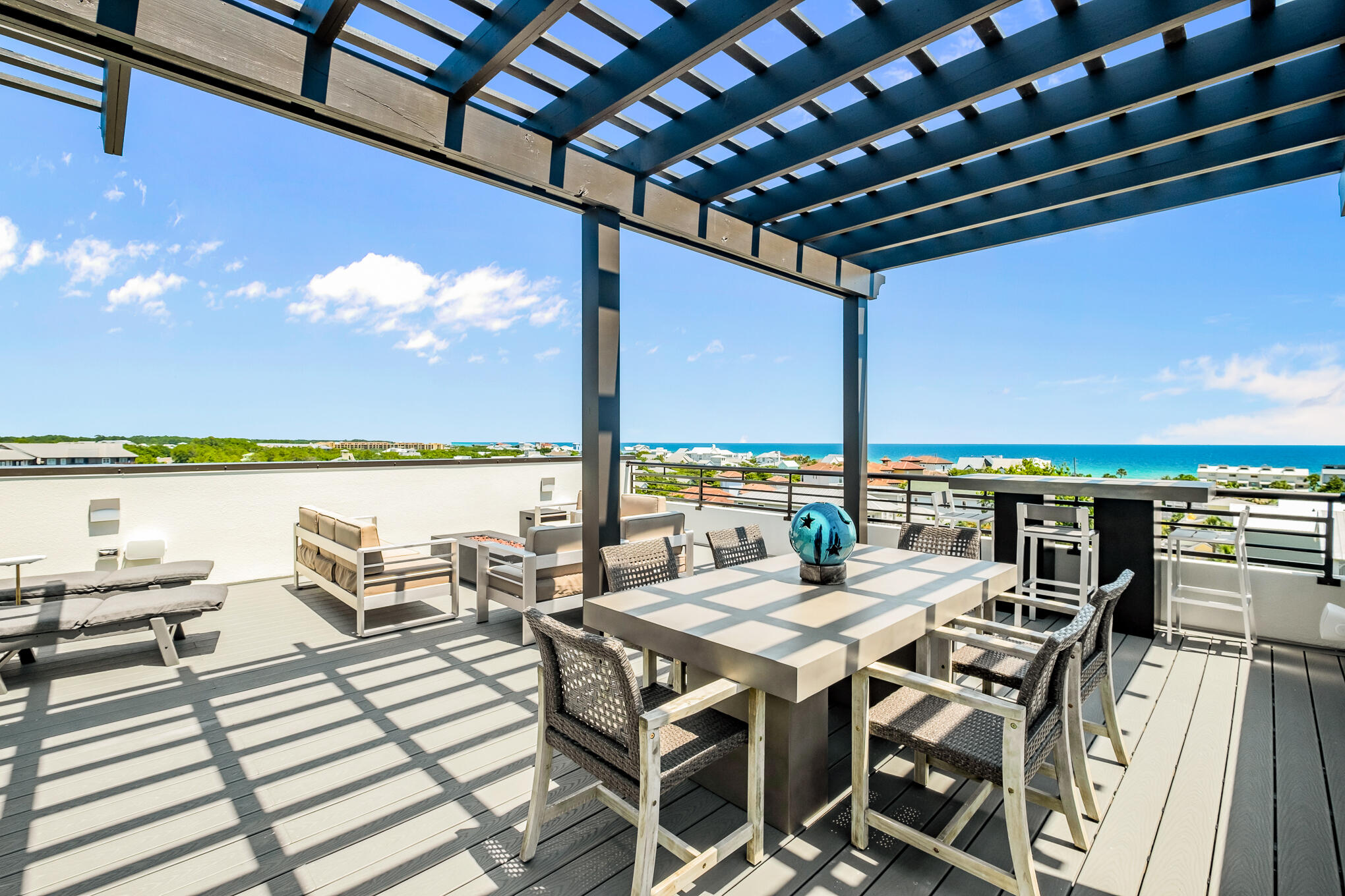 With sweeping views of the Gulf of Mexico from the Beaches of South Walton to Panama City Beach, this eastern end unit at THE CREST is simply breathtaking!  Arguably one of the highest and most panoramic views on Scenic Highway 30A, this home provides complete luxury and privacy in a gated community of nine residences.  Sold fully furnished with a few exclusions, this 3500 sq ft home boasts 5 bedrooms, 5 full baths, two half baths, two spacious living areas, 2 master bedrooms, and a private fenced backyard for family gatherings.  No detail was overlooked by the current owners.  The home has a private poolside cabana, golf cart garage, and golf cart. Enjoy the 40x60 heated community pool and hot tub after your day at the beach.  Call today to schedule your private showing of residence.