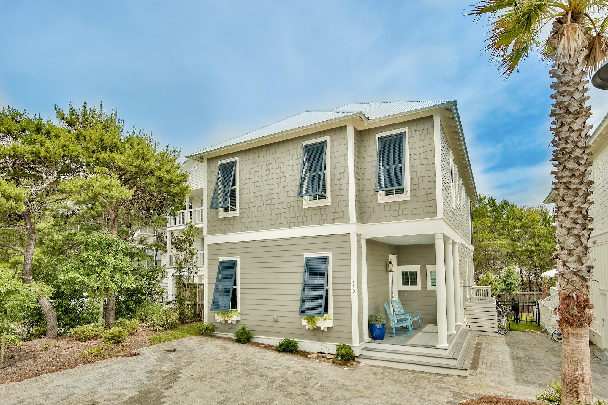 It's AVAILABLE!! No fault to the seller -  This is your opportunity to own a turnkey 4 bed/4 bath gem in sought after Blue Mountain Beach and on beautiful palm-lined private street, just steps from shops, restaurants and 7-10 min walk to the beach!  This  custom-modified 2018 built Palm Floor Plan is top-notch w/smart home technology including Ring Security Doorbell, Yale key remote capable  front entry lock, 3 Ring exterior security cameras, 2 Nest Thermostats, Omni-Logic Remote Pool Controller, distributed wi-fi throughout home, plus built-in Sonos/Alexa ceiling speakers. You'll find high-end upgrades throughout w/expertly appointed furnishing & finishes featuring  10' ceilings on 1st & 2nd, 2 Master King Suites, open main level floor plan w/75'' Sony Smart TV + 52'' Sony Smart TV in all bedrooms, tankless water, shiplap walls throughout interior, beautiful decor & quality furnishings, Kohler commodes in all 4 bathrooms, nicely landscaped w/ fenced backyard, front paver area accommodates 3 vehicles + a golf cart!  Kitchen features shaker custom cabinets w/lighting, oversized island, quartz counters, glossy glass backsplash, ss Bosch appliances dual-fuel 5-burner stove, French door refrigerator w/ice maker, built-in microwave & Kitchen Aide DW.  8' glass French doors lead to exterior living space w/private heated salt water pool w/LED lights & expansive pool deck. Upstairs you'll find the 2nd Master King Ste w/designer soaking tub, sep shower, double vanity, walk-in closet & French doors that lead private screened porch. Spacious bunk room has custom built Queen/Twin bunks, plus another King Guest Bdrm.  Hall Bath has tub/shower combo & double vanity.  Walk to the beach, just 7-10 minutes away, Blue Mabel Smokehouse & Provisions, Blue Mountain Bakery, For The Health of It Health Food Store and more!  Rental projections are upwards of $100K yrly.  Dune Side at Blue Mountain Beach is a community made up of just 22 homesites in the heart of desirable Blue Mountain Bea