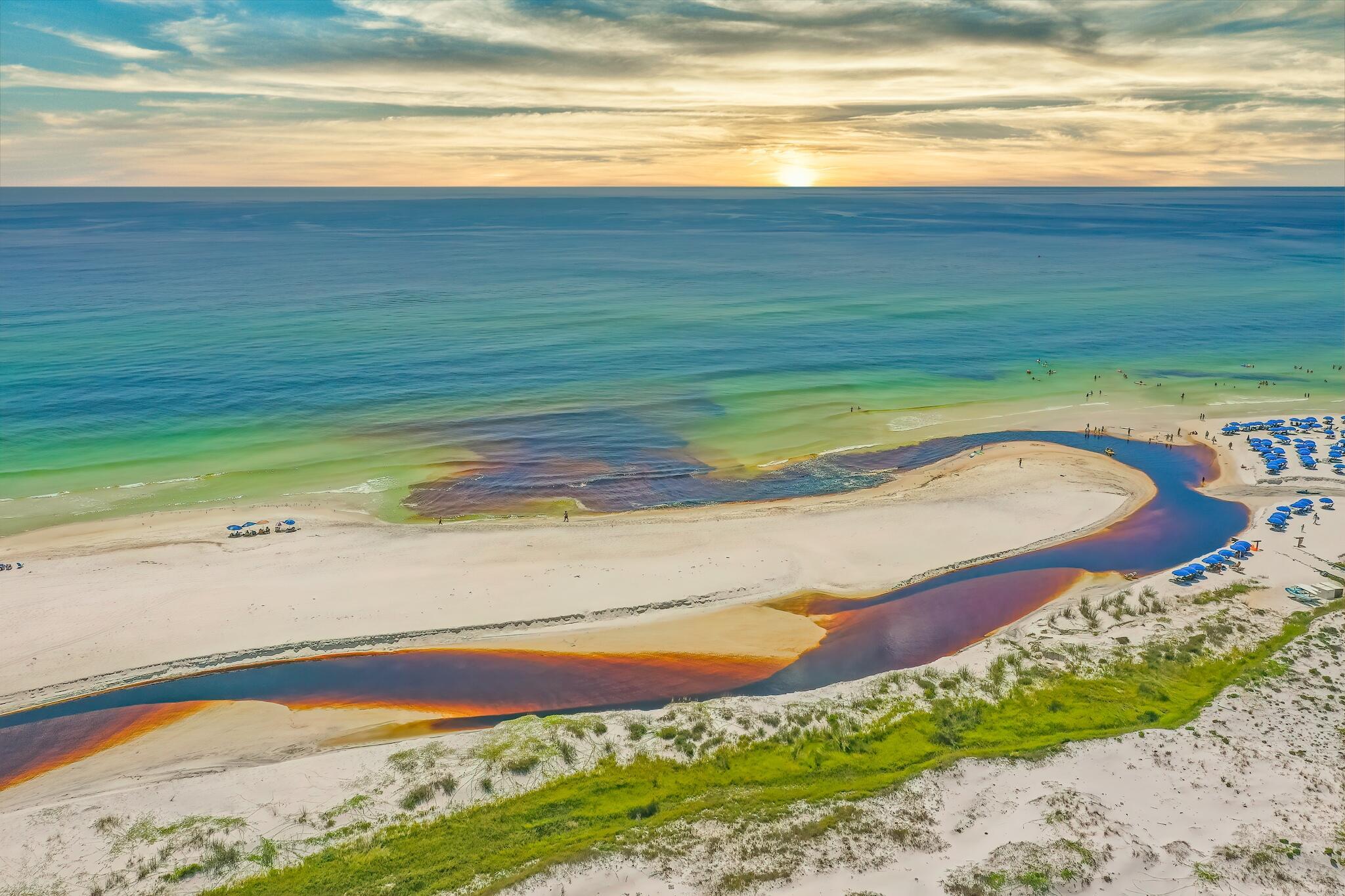 small_dune lake stream dusk
