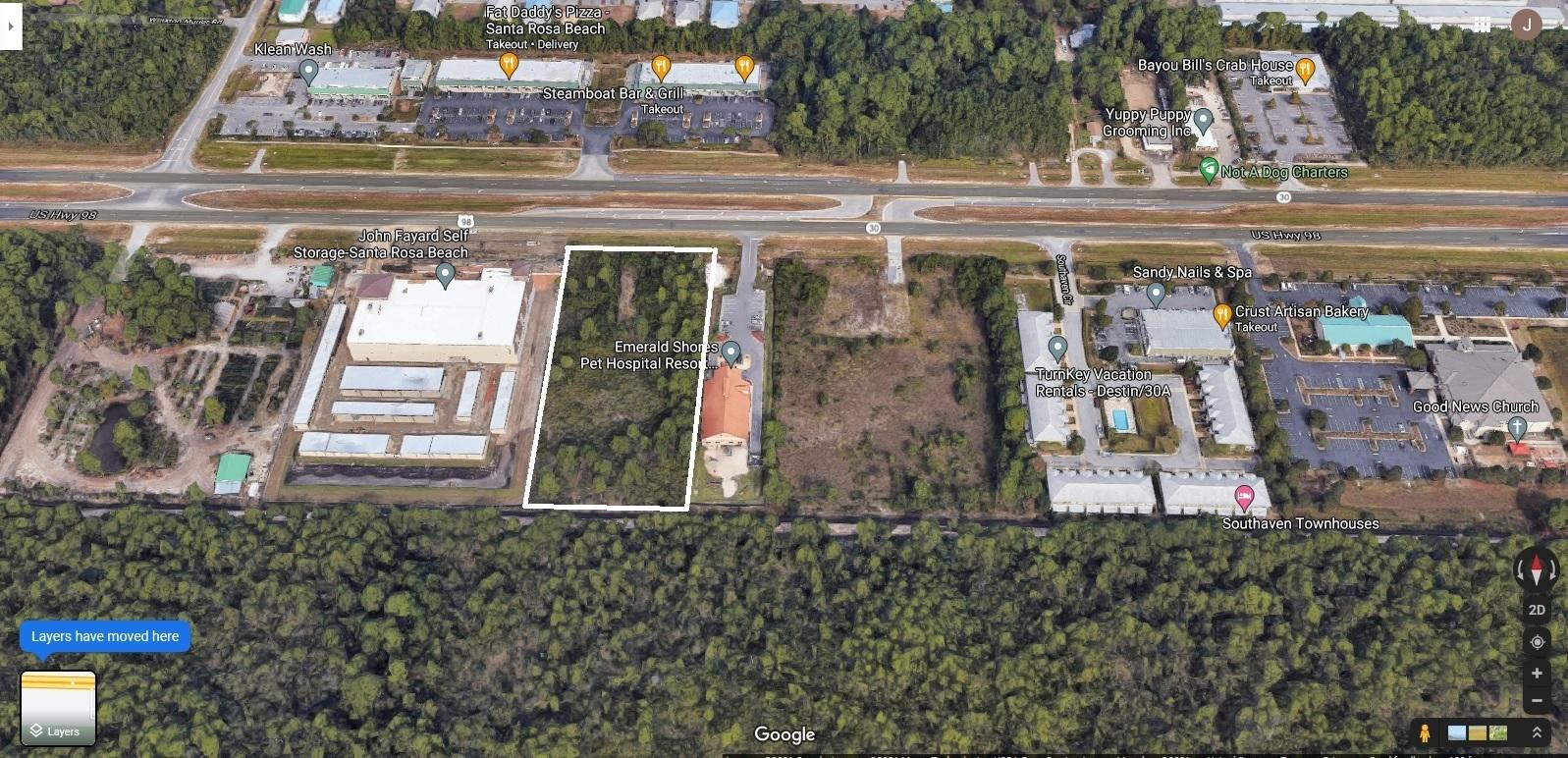 Excellent vacant land opportunity in the booming area of Santa Rosa Beach and just minutes away from the sugar-white beaches of 30A and South Walton. Zoned Village Mixed Use, the two contiguous parcels are approximately 2.343 acres per Walton county Property Appraisers site. The 0.56 acre wetland area is eligible for fill through the Nationwide Permit #39 giving a full development opportunity on this prime 2.343 acre site. User to verify all data for its intended use.