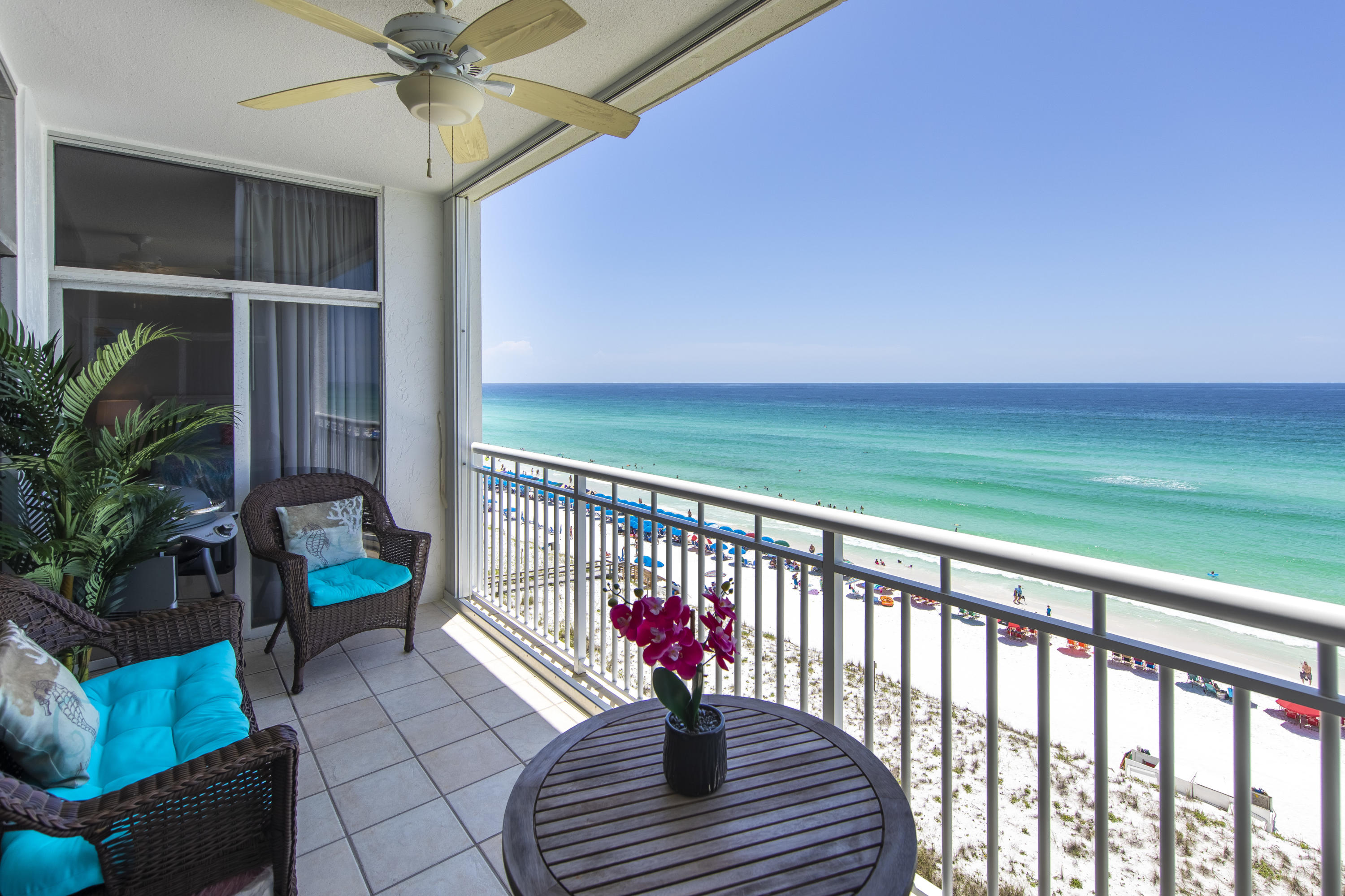 Spacious gulf front 3 bedroom 3 bath condo in the heart of Destin. This floor plan boasts a rare gulf front master bedroom and guest room,  both with balcony access. Floor to ceiling windows allow a full view of the beautiful emerald waters of the Gulf of Mexico while filling the space with natural light. This luxury beach abode offers a generous 2072 sq. ft. area complete with a great room for entertaining, large kitchen with granite, oversized bedrooms with spacious walk-in closets, separate storage area, and updated baths all in the coveted coastal design aesthetic.  Prime 7th floor location, in a hard to find non-rental condominium building. The Tides offers an incomparable beach experience with private beach access and attendant. Other amenities include, gated 24 hour security, pool, club house, tennis courts, basketball goals, ample guest parking, and covered assigned parking.