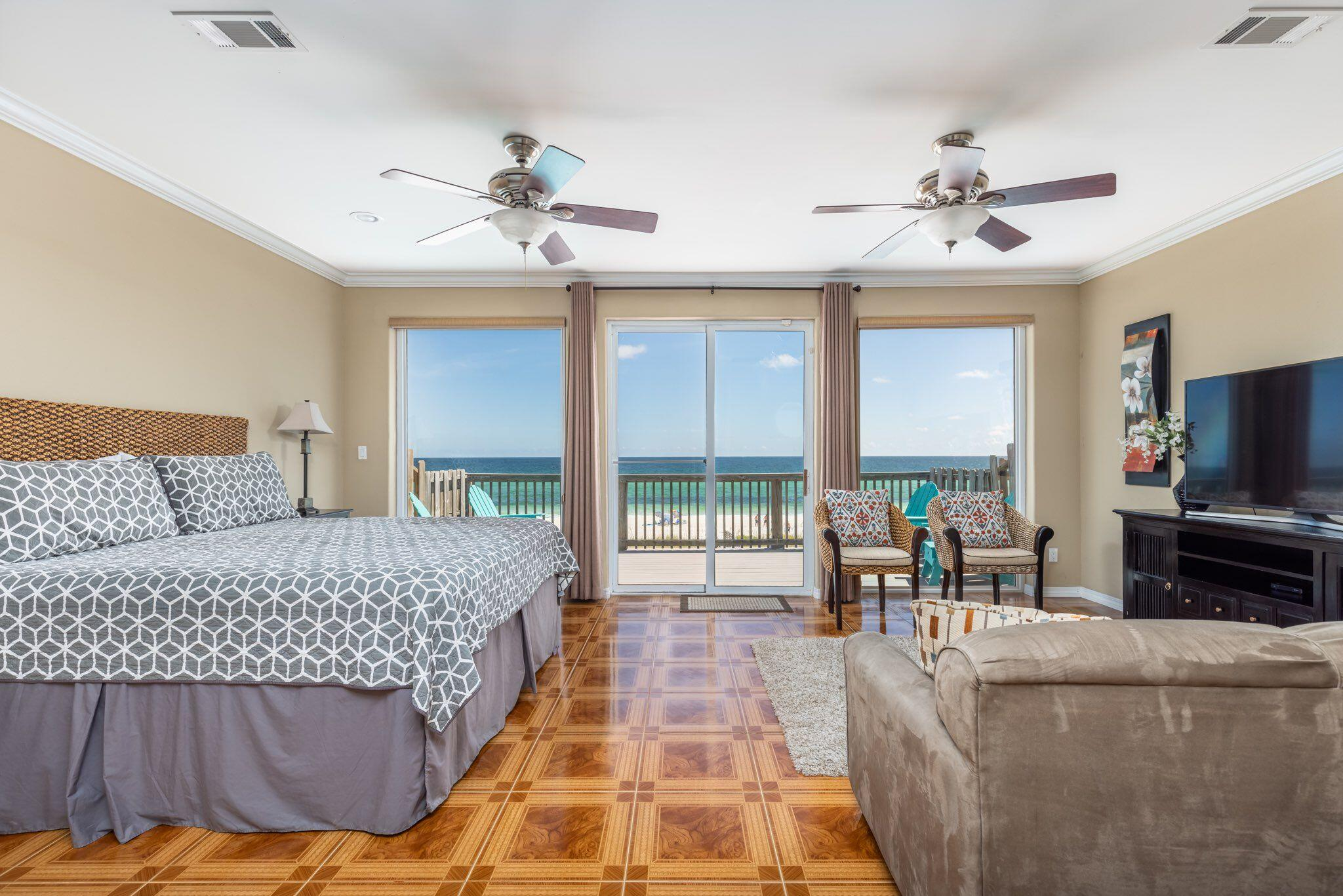 Gulf front town home on beautiful Navarre Beach with stunning views. This 3 bedroom 3 bath townhouse comes fully furnished ready to enjoy or continue to rent out. The main level has an open kitchen/dining/living area with  views of the Gulf. The expansive decks on the first and second floor were just recently upgraded with Trex composite boards. Kitchen is completely equipped with granite counter tops, stainless appliances, including a wine cooler and a brand new refrigerator. One bedroom and one bath on the first level with views of the Sound. The second floor has the master with and master bath overlooking the Gulf with a spacious balcony to relax and enjoy the sunrises and sunsets. This complex with 4 townhomes has no HOA and all owners had a new metal roof put on 12/2019.