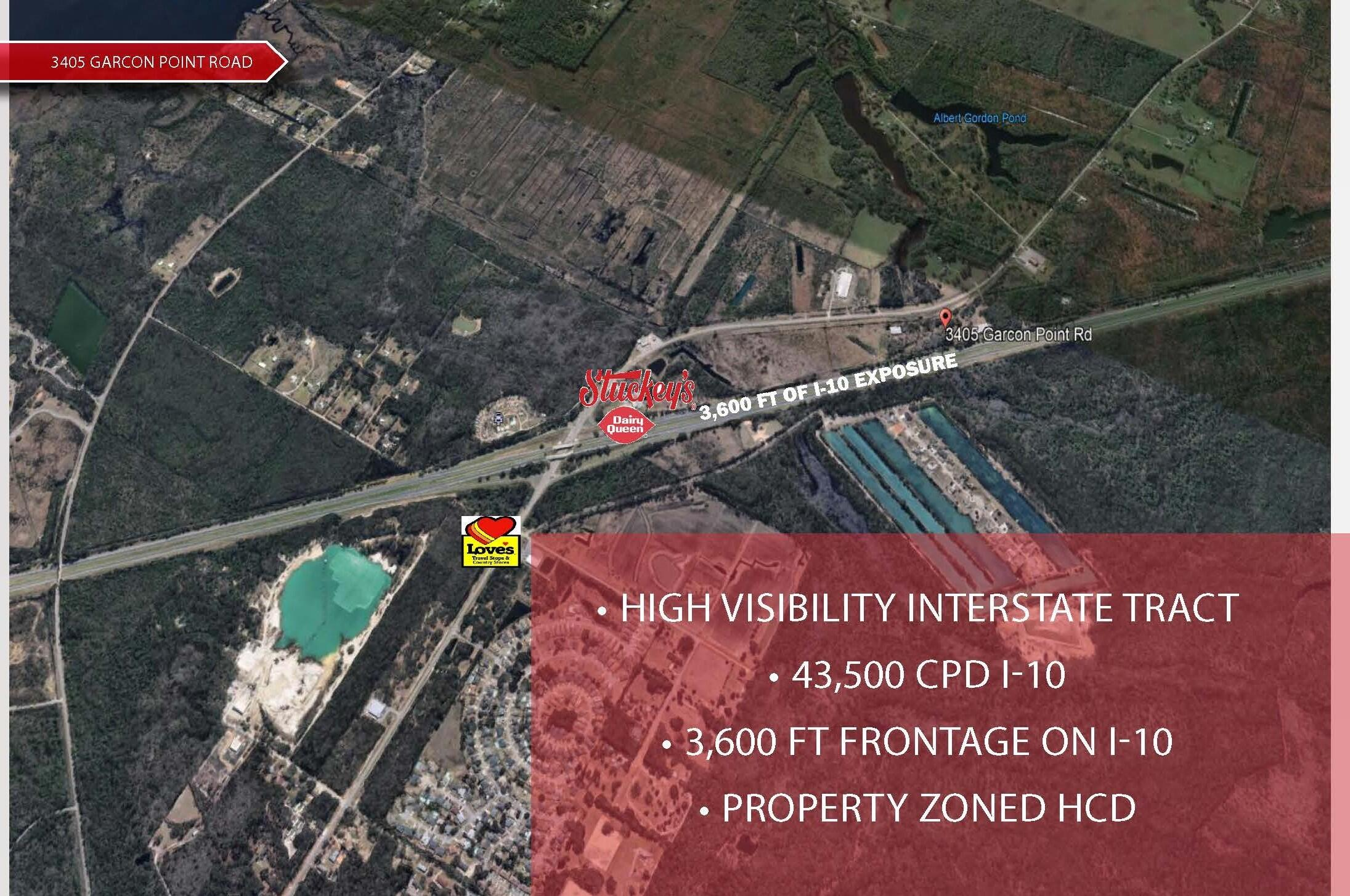 This is a prime tract on Garcon Point Road and I-10 (Exit 26). The property offers quick access to the City of Milton, FL, and Pensacola, FL with an incredible 3,600 FT of exposure along I-10. The property is currently in the rezoning process to HCD with an estimated completion of November 2021.   The Northern Boundary of the property adjoins Stuckeys at the Garcon Point Road / Baghdad Exit. A 12,000 SF Loves Travel Stop is under construction on the Northeast quadrant of this exit (opening Summer 2021)  Once Rezoned the property is highly suitable for a Mixed Use Commercial Center, Hospitality, RV Park, and Industrial User.   The owner will consider subdividing.