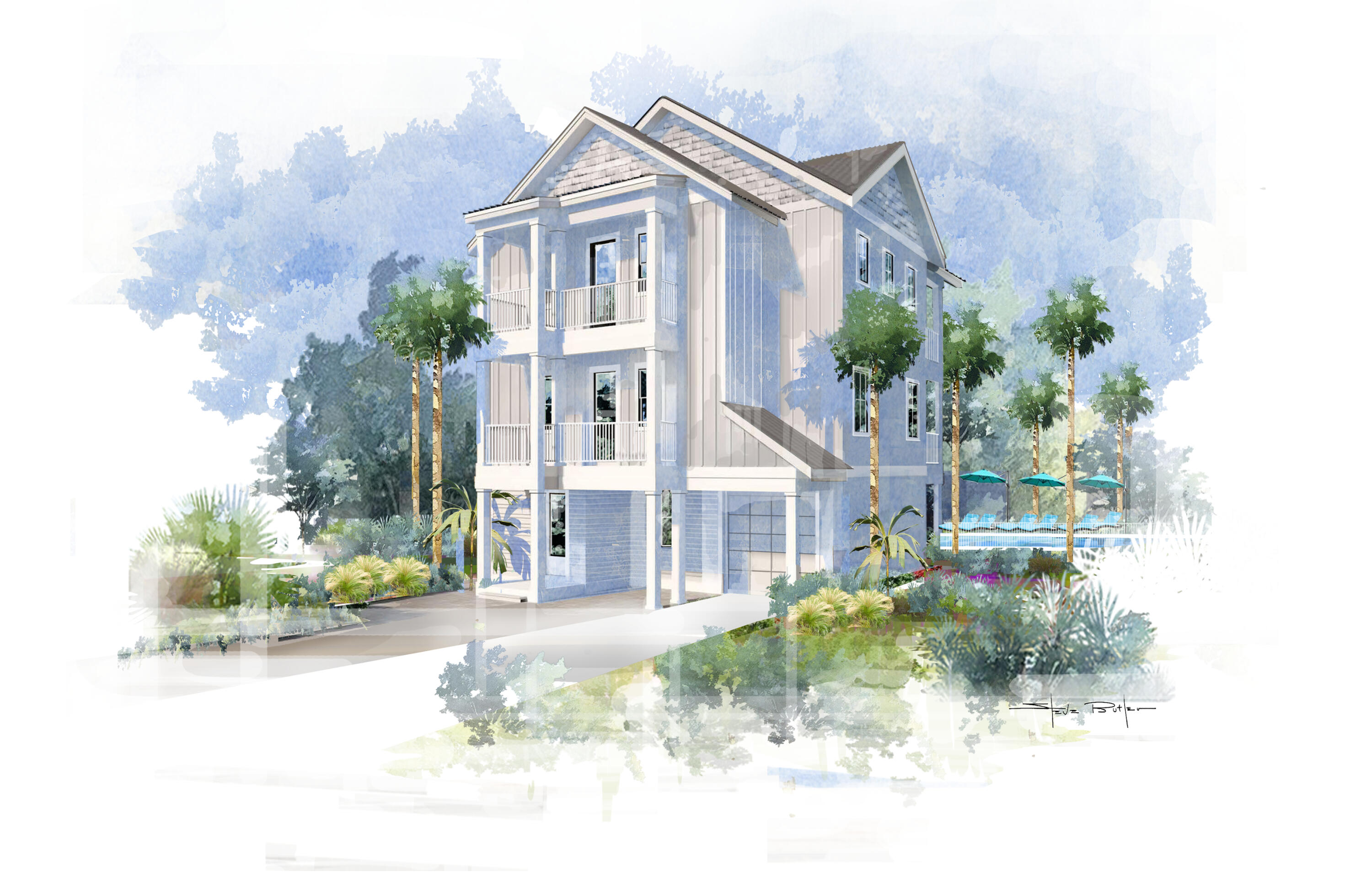 Currently the only new construction opportunity within the Village at Grayton Beach and the first available home within the coveted phase 3 enclave. The Oleander plan provides 4 bedrooms and 3/2 baths with comfortable coastal living with upgraded features including crown molding, wood wainscot on stairwells, custom tile accents in all bathrooms and kitchen backsplash, white marble in master bath, 4' white oak flooring throughout 2nd floor living/dining and all bedrooms, custom built-in shelving, vaulted v-groove wood ceilings in master bedroom, white shaker style kitchen cabinets with gray accent island, elegant cast stone soaking tub in master bath, Minka Aire ceiling fans throughout, designer plumbing and lighting packages, gas fireplace, 205 SQ FT of covered porches & much more. Neighborhood amenities include a zero entry community pool along with close proximity to Grayton Beach!