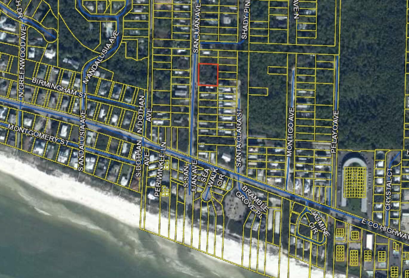 Three lots in the heart of Seagrove and just a few blocks from the beach. The southern most lot is buildable, While the northern two are in wetlands. All three lots are to be sold together. Wetland study available.