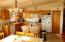 Kitchen with oak cabintes