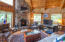 Featured fireplace, beautiful tongue and groove ceiling and walls