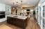 Pendant lighting above kitchen island