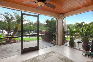 Screened patio with cypress wood ceilings