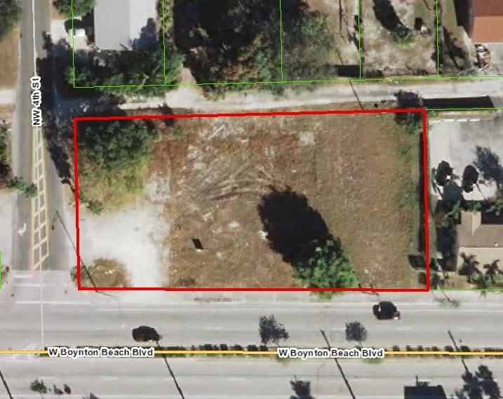 223' fronting busy Boynton Beach Blvd east of I-95. Zoned C2 in the City of Boynton Beach. In the Community Redevelopment Agency District - Incentives and Grants available.*No warranty or representation, expressed or implied is made as to the accuracy of the information contained herein and same is subject to errors, omissions, change of price, rental or other conditions, withdrawal without notice, and to any special listing