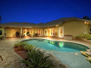 tropical pool setting