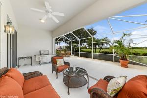 800+sq foot screened lanai overlooking 8th fairway