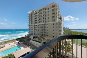Ocean, intracoastal, and pool views from balcony