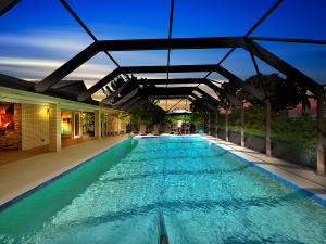 Sparkling oversize screened in pool