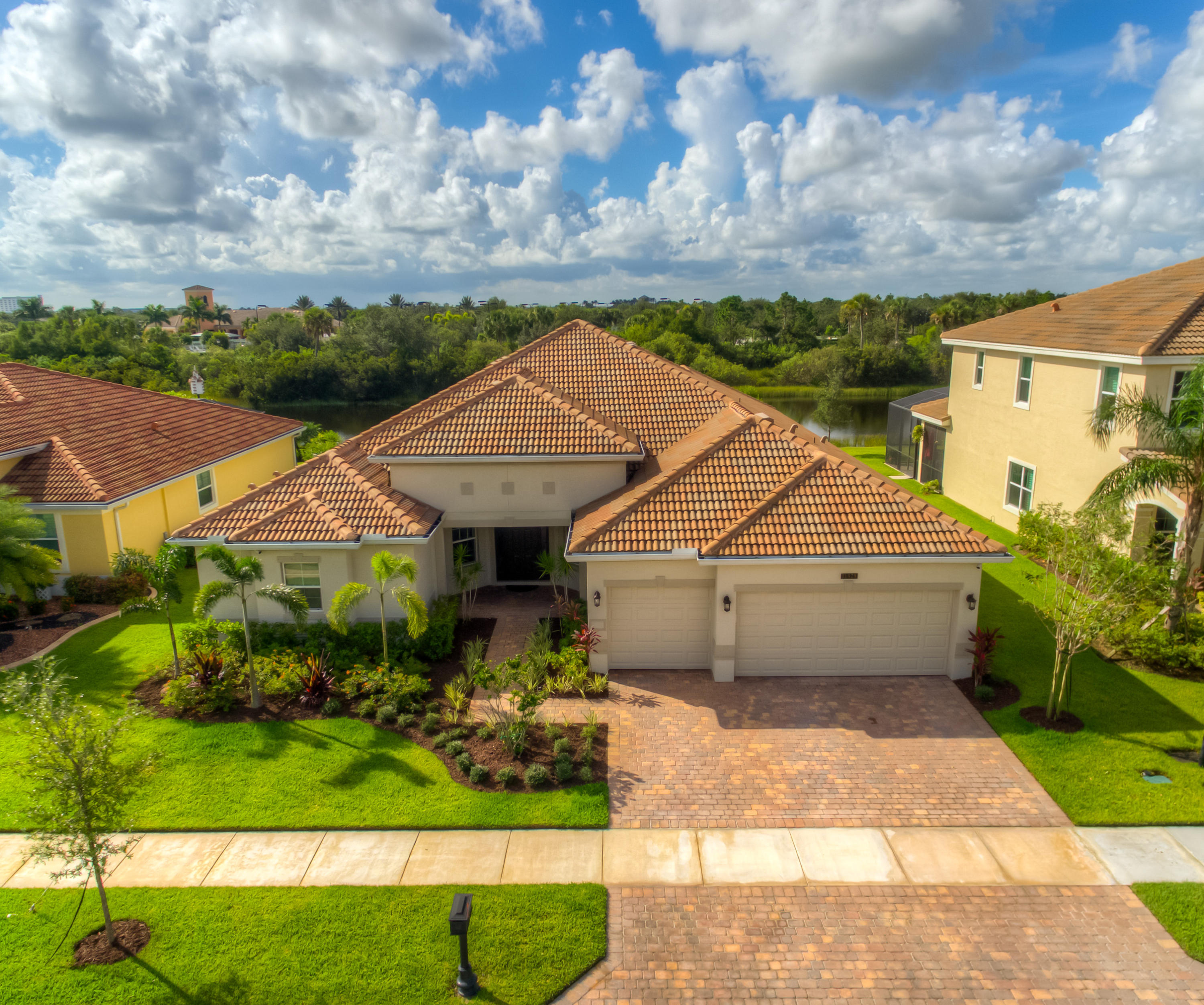 "Wow! This 2016 D.R. Horton-built estate pool home is loaded with gorgeous, modern amenities. Its ideal location is within walking distance to the community pool, yet still offers a secluded, private, and quiet preserve/lake view. A predominantly North/South orientation allows the most daily light exposure to soak up the warm Florida sun while relaxing poolside. Inside, countless upgrades have taken this home above all others including a professionally installed and cutting edge ''Control4'' Complete Home Automation and Entertainment System. Lighting, fans, shades, music, security system and more are controlled on or off site. Elegant mouldings were added everywhere you look. A rich dark wood kitchen with Frigidaire Professional Stainless Steel appliances will make any cook elated. Click MO Wow! This 2016 D.R. Horton-built estate pool home is loaded with gorgeous, modern amenities. First take notice of its ideal location that is within walking distance to the community pool, yet still offers a secluded, private, and quiet preserve/lake view. A predominantly North/South orientation allows the most daily light exposure to soak up the warm Florida sun while relaxing poolside.  Inside, countless upgrades have taken this home above all others. A professionally installed and cutting edge ""Control4"" Complete Home Automation and Entertainment System has been integrated into this home. It is comprised of distributed & zoned music throughout the home and patio with full control of interior and exterior lighting, security cameras, ceiling fans, security system, motorized window shades, thermostat, door locks, and garage door opener. TV, 4K Blu-ray player, and surround sound system control are unified with a single remote. The wall mounted touchscreens in the common areas with intercom ability are user-friendly and control everything yet the system can also be accessed remotely with a phone, tablet or computer. The details on this are expansive! The open and inviting floorplan is perfect for entertaining yet still has 5 spacious bedrooms.  Decorative crown, base, window, and door moldings have been added and enhanced throughout. Interior painting, new lighting fixtures, fans, and décor were carefully selected to coordinate beautifully.  An elegant dark wood kitchen boasts a ton of room for gathering or cooking with a Frigidaire Pro Stainless Steel appliances package. Santa Cecelia granite countertops, a central island, tile backsplash, and under cabinet, recessed, and pendant lighting make the kitchen a focal point. A wet-bar is centrally located for easy access and entertaining as well. The 2 front guest rooms share a bathroom with dual sinks and granite top. All of the 3 bathrooms' fixtures, mirrors, and lighting have been upgraded over the builder's grade. A ""mother-in-law"" bedroom and separate bathroom is located off the family room.  French doors, formal lighting, and a picture niche invite you into the master suite where the carpet has been replaced with hand-scraped, Pergo wood flooring throughout. The slider and window offer gorgeous views to the backyard. The master bathroom features a soaking tub, built-in decorative shelving, walk-in shower with soap niches, and large cabinet drawers.  The laundry room includes an LG washer/dryer, washtub, and overhead cabinets. The expansive back lanai with a custom dome enclosure allows you to enjoy the outdoors no matter your schedule. The freeform pool with adjustable water fountains is positioned to make the most out of the deck space. The ""Kool-deck"" coating has been matched to compliment the exterior color. Enjoy your lake view surrounded by a wildlife preserve area that makes for great scenery and enhanced privacy. An expansive 3-car garage keeps everything dry and protected. Bring us your best offer today to make this great home yours!"