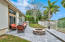 Silver Travertine back yard and fire pit