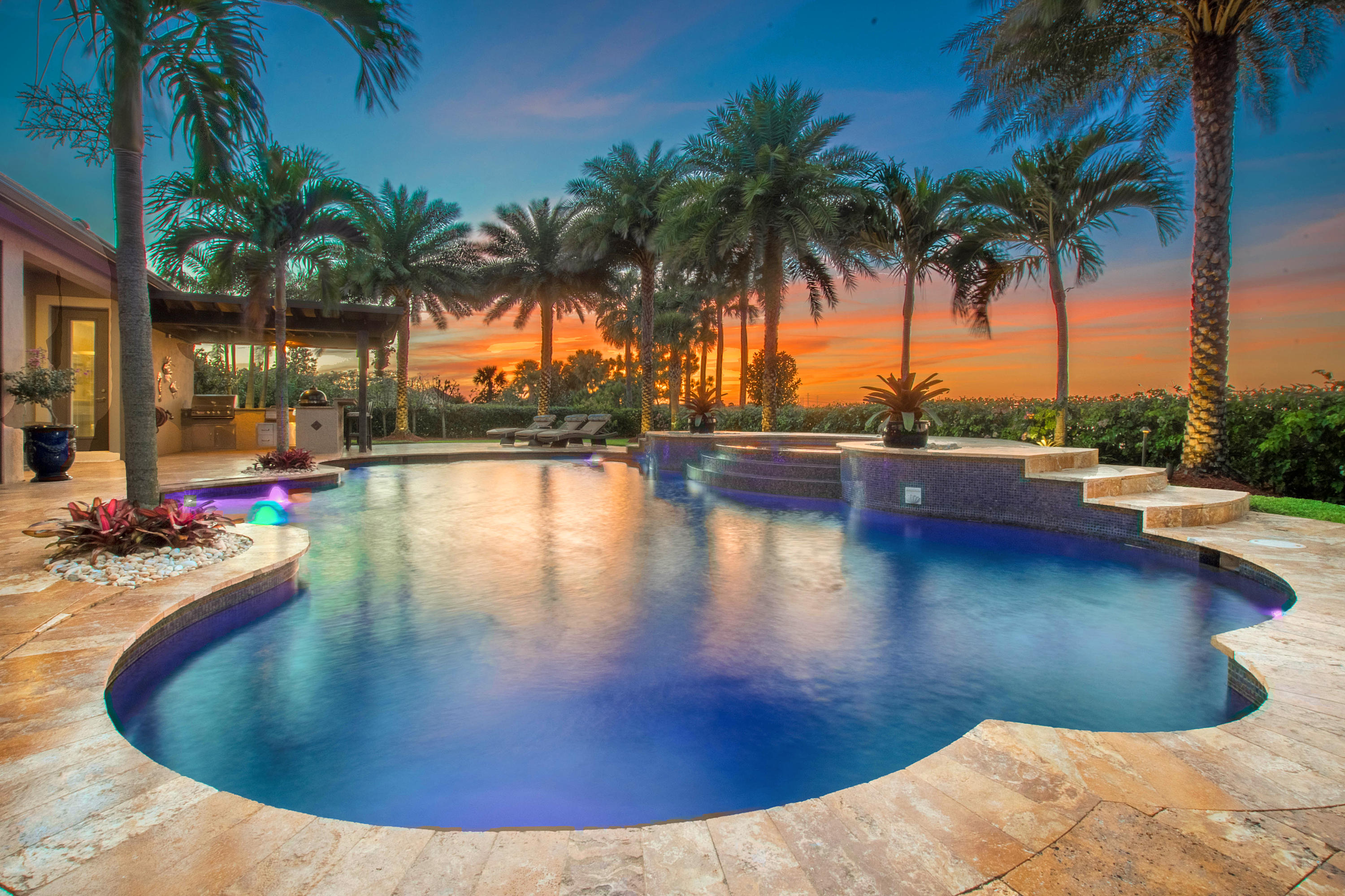 Custom Heated Salt Water Pool at Sunset