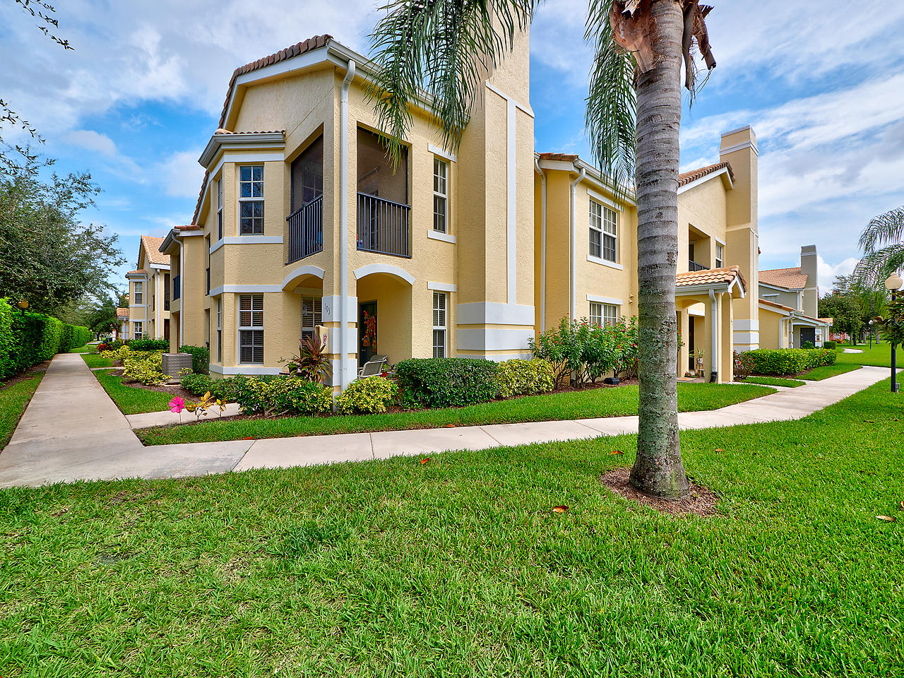 Wonderful opportunity to live in St Lucie West, at The Belmont! Well maintained by original owner, this condo truly shows like a model! Best 1st floor location with total privacy, corner end unit features 2BR/2BTH with tile throughout! Large family & dining room with bay window, Light & Bright kitchen with granite countertop, large pantry, snack bar & eat in kitchen space! Designer features include custom window treatments and a beautifully hand painted mural in Masterbath! Walk in MB shower & sep garden tub!  Granite vanities! Ceiling fans!  Laundry room with 2017 Maytag Appliances! Relax and unwind on your cozy private patio located just off the kitchen and/or Master Bedroom! Don't wait on this one!  Gated Community w/Pool, Spa, Clubhouse, Athletic Center & Bus. Ctr, Tennis & Kids Fun C