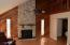 Wood burning fireplace, vaulted ceilings
