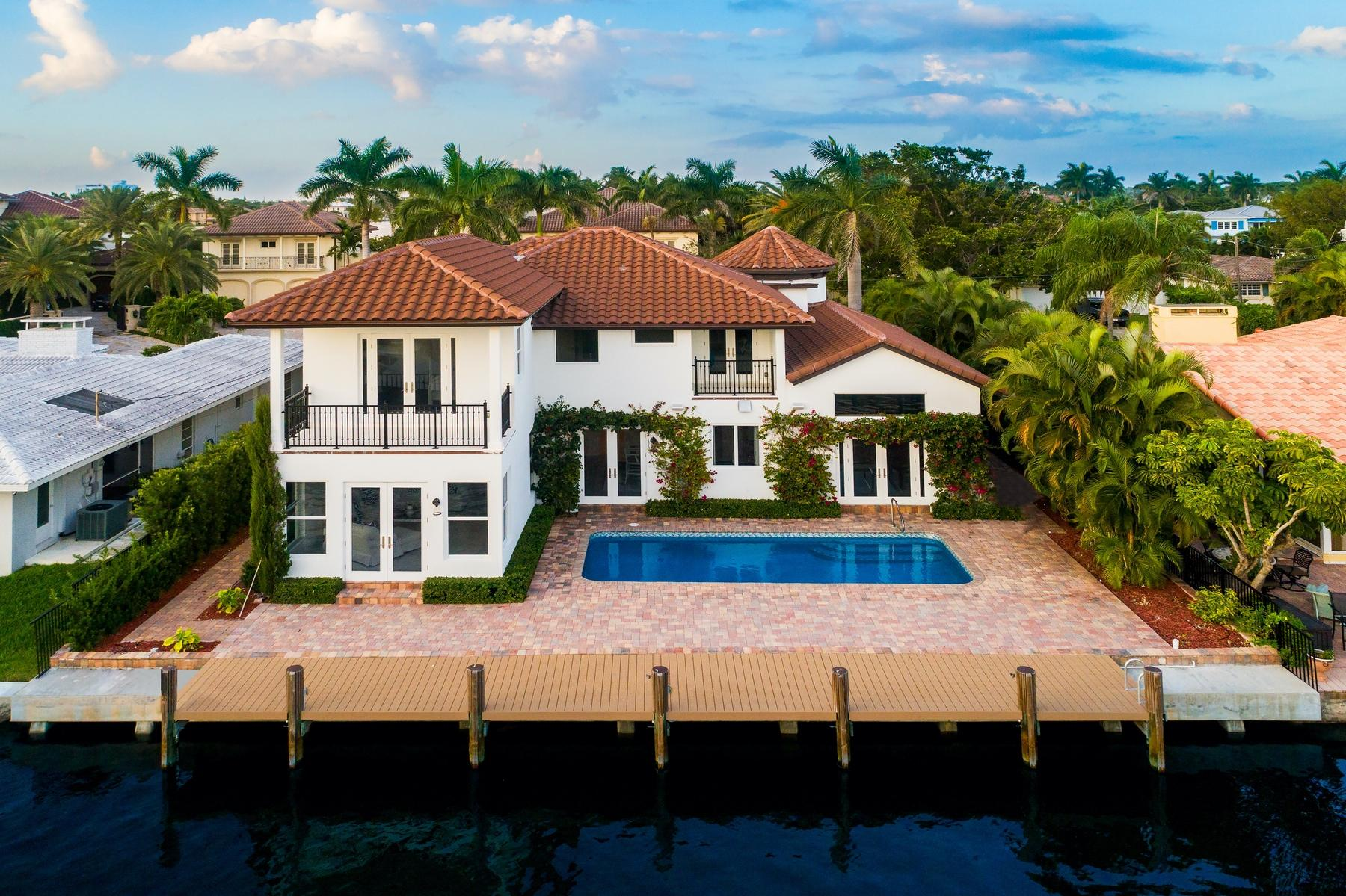 Stunning custom built new construction waterfront home in East Delray Beach. Fully furnished with luxury finishes. Features 75 feet of deep water frontage and ready to use dock. Welcoming mahogany entrance doors, marble flooring, hand carved custom cabinetry. Gourmet chefs kitchen, spacious island with bar seating and top of the line appliances. Volume ceilings throughout, views across the intracoastal. Located one block from the beach and less than a mile from Atlantic Avenue's boutiques, restaurants and more.