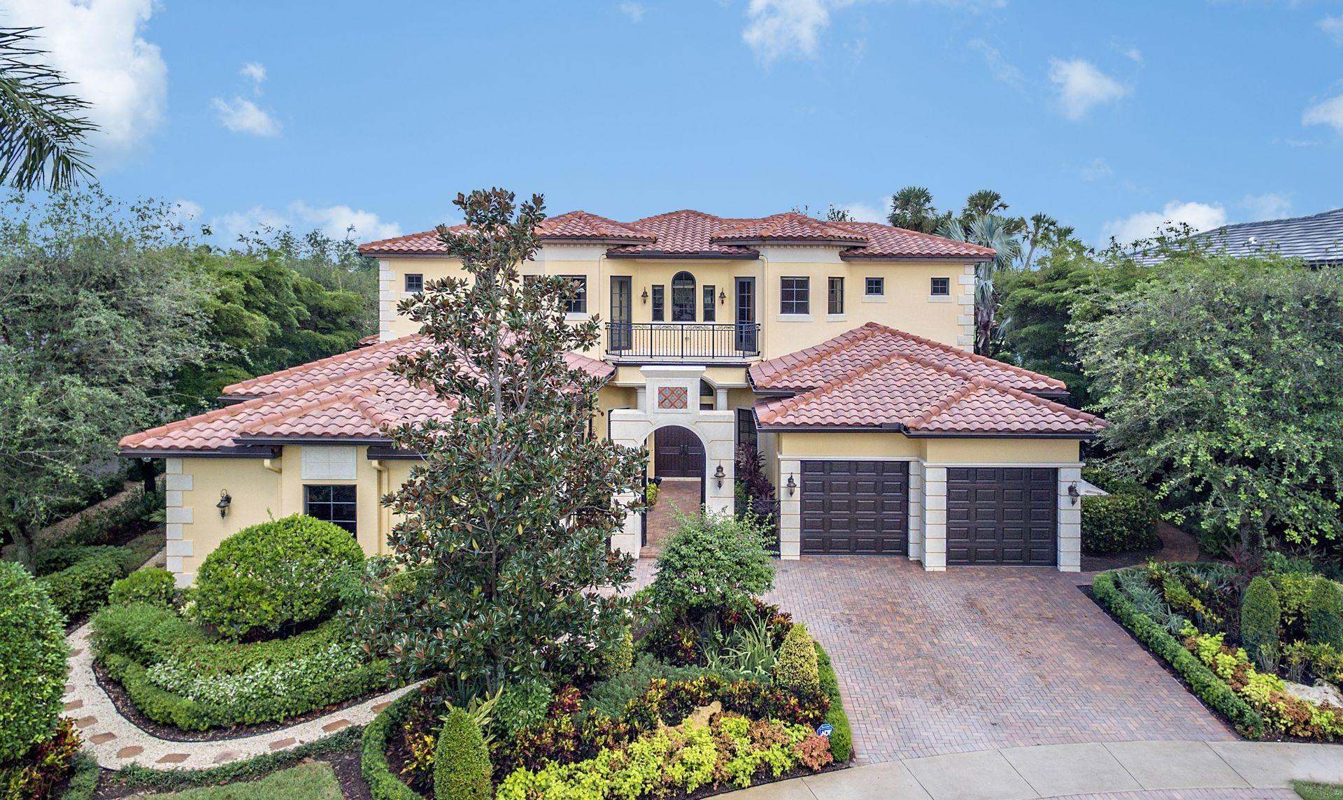 Pristine Mediterranean 2-story home with 4 bedrooms, 5 full & 1 half bathrooms, plus library & loft and 3 car garage.1/3 acre lake and golf front lot on a street of custom estate homes which can exceed $2.8 Million. Entire estate boasts impact resistant windows with Hunter Douglas window treatments throughout and a Quietsource generator. Grand double door entry to Jerusalem marble inlaid foyer and dramatic marble & wood staircase to the 2nd floor with 2 grand guest suites with ensuite bathrooms. Chef's kitchen includes oversized double Subzero refrigerators with 4 pullout freezer drawers; 6-burner Wolf range with built-in griddle; double gas ovens; Miele dishwasher; Wolf built-in microwave; oversized island can accommodate a buffet, breakfast dining & more. Club Equity purchase is required Pristine Mediterranean 2-story home with 4 bedrooms, 5 full & 1 half bathrooms, plus library & loft area and 3 car garage.1/3 acre lake and golf front lot on a street of custom estate homes which can exceed $2.8Million. Entire estate boasts impact resistant windows with Hunter Douglas window treatments throughout and a Quietsource generator. Grand double door entry to Jerusalem marble inlaid foyer and dramatic marble & wood staircase to the 2nd floor with 2 grand guest suites with ensuite bathrooms. Chef's kitchen includes oversized double Subzero refrigerators with 4 pullout freezer drawers; 6-burner Wolf range with griddle; double gas ovens; Miele dishwasher; Wolf built-in microwave; oversized island can accommodate a buffet, breakfast dining and more. Sliding double doors off the breakfast/family area lead out to unobstructed long lake and golf views. The covered patio boasts stained pecky cypress ceiling and double fans. The owner's study includes wood flooring, matching decorative ceiling and double door entry, as well as a separate impact glass entry from the courtyard. Wet bar area has under-counter Subzero refrigerator, wine storage & porcelain sink. Professional well-water integrated irrigation system for the upgraded landscaping which includes side yards suitable to accommodate a putting green, badminton, bocci ball, etc. Ower's architect also has preliminary drawings to provide for up to a 2-story 1,200 SF addition on the property.
