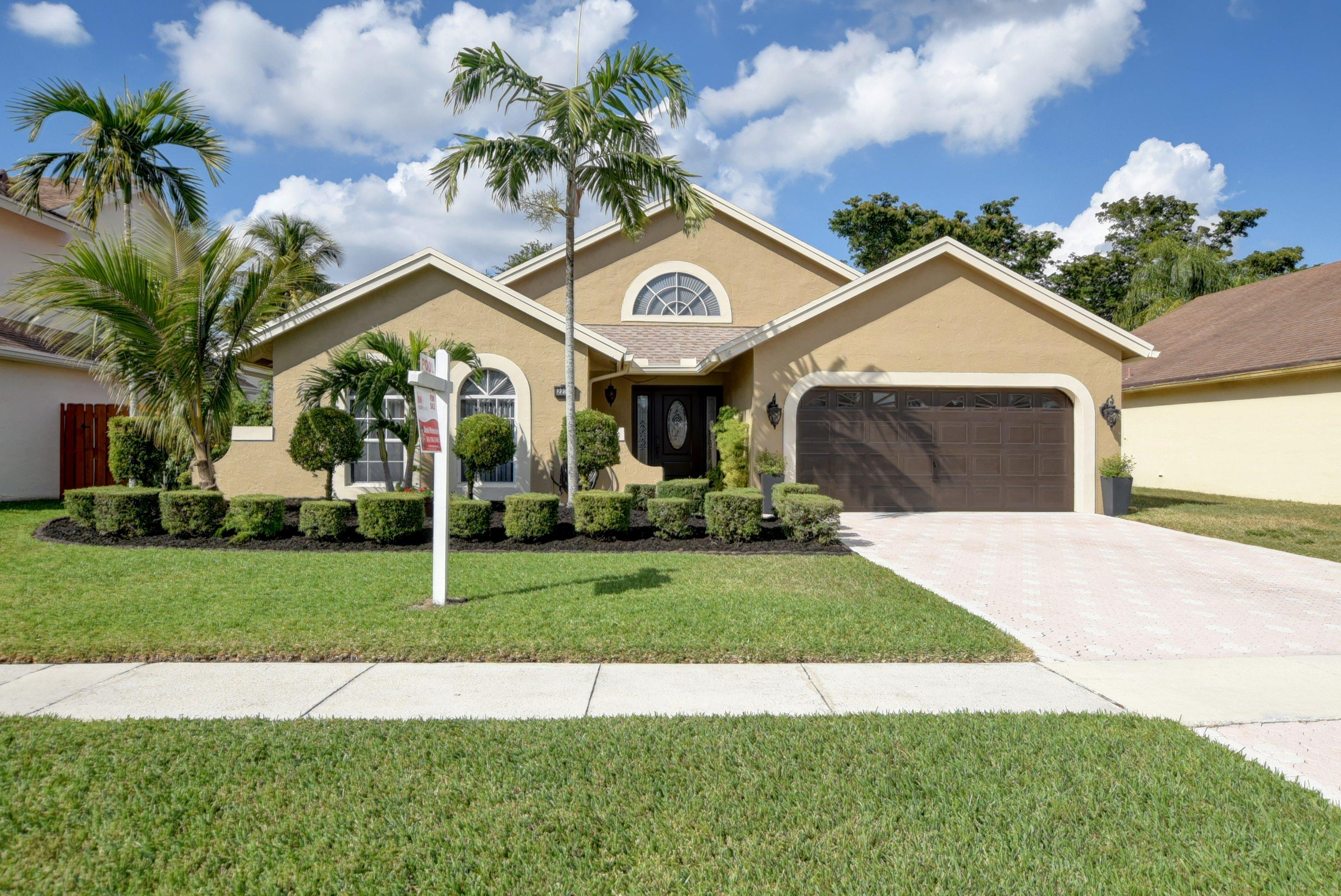 Beautiful Pool Home at Boca Winds. Open and spacious floor plan. This home features 3 bedroom, 2 bath, 2 car garage, screened patio and Pool. Low HOA. Excellent location! Less than two minutes away from 3 ''A'' rated schools.