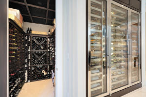 Wine room and chrome display cabinet