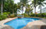 Relax poolside under the palm trees all year long . The pool is heated ( gas) and salt chlorinated.