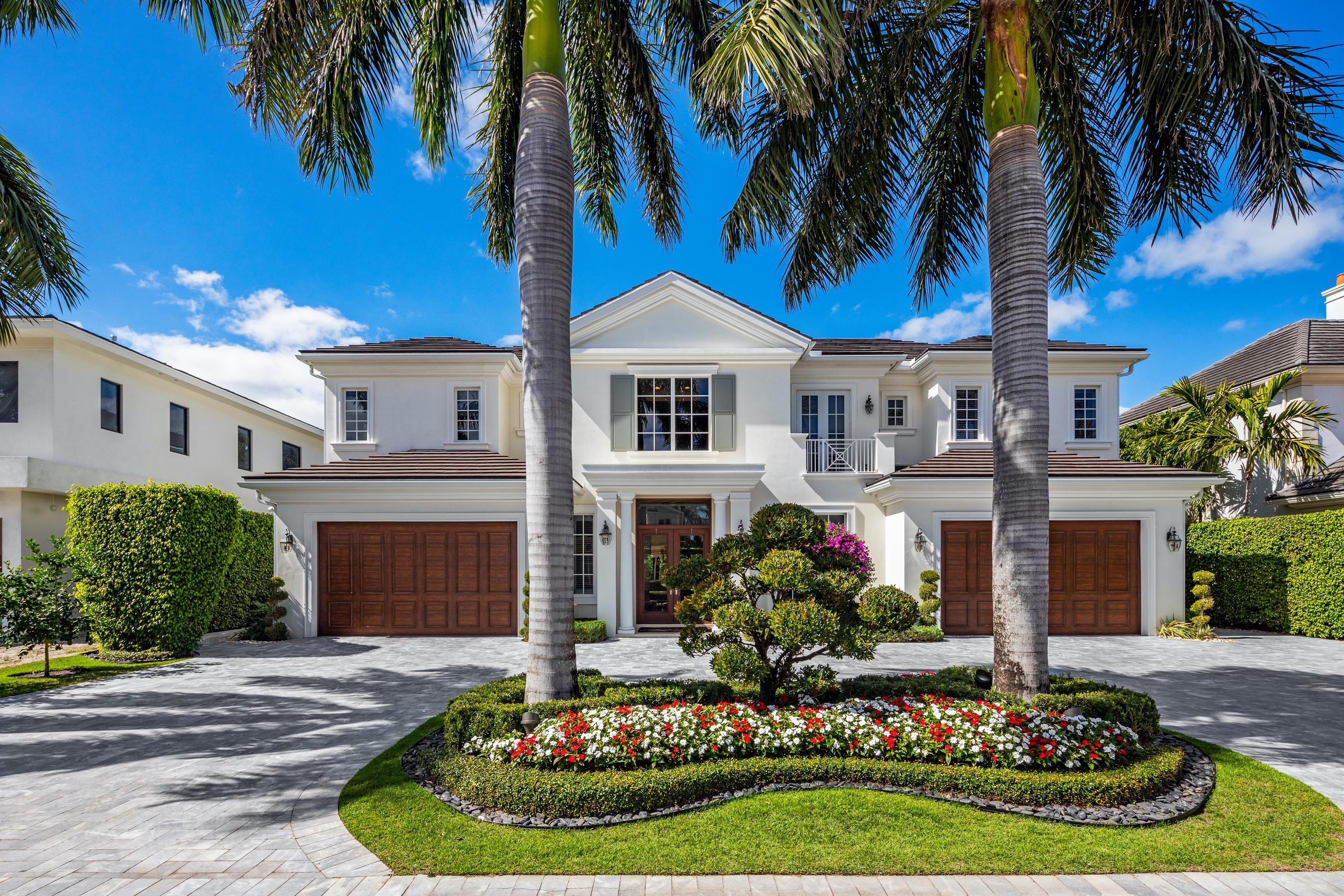 Offered fully furnished, turn-key move in ready, with sophisticated interior design, this 'like new' home was built by renowned builder, Bloomfield Construction in 2015. 1803 Sabal Palm Circle is located on an ultra-desirable, quiet street located within Royal Palm Yacht & Country Club. This home features a highly sought after floor plan with 5 bedrooms, opulent His and Her Master Baths, Club Room, and Study. A marble paver circular driveway affords four car garages, plus a golf cart/NEV garage. A large heated saltwater pool and spa graces the private backyard and large, covered outdoor living spaces. Manicured landscaping, synthetic turf backyard, and all of the features and conveniences you'd expect from this elegant estate home like hurricane resistant construction and much more.
