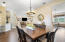 Custom light fixture and decorative accents in the dining area