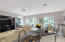 Kitchen to casual dining, and view of garden scape